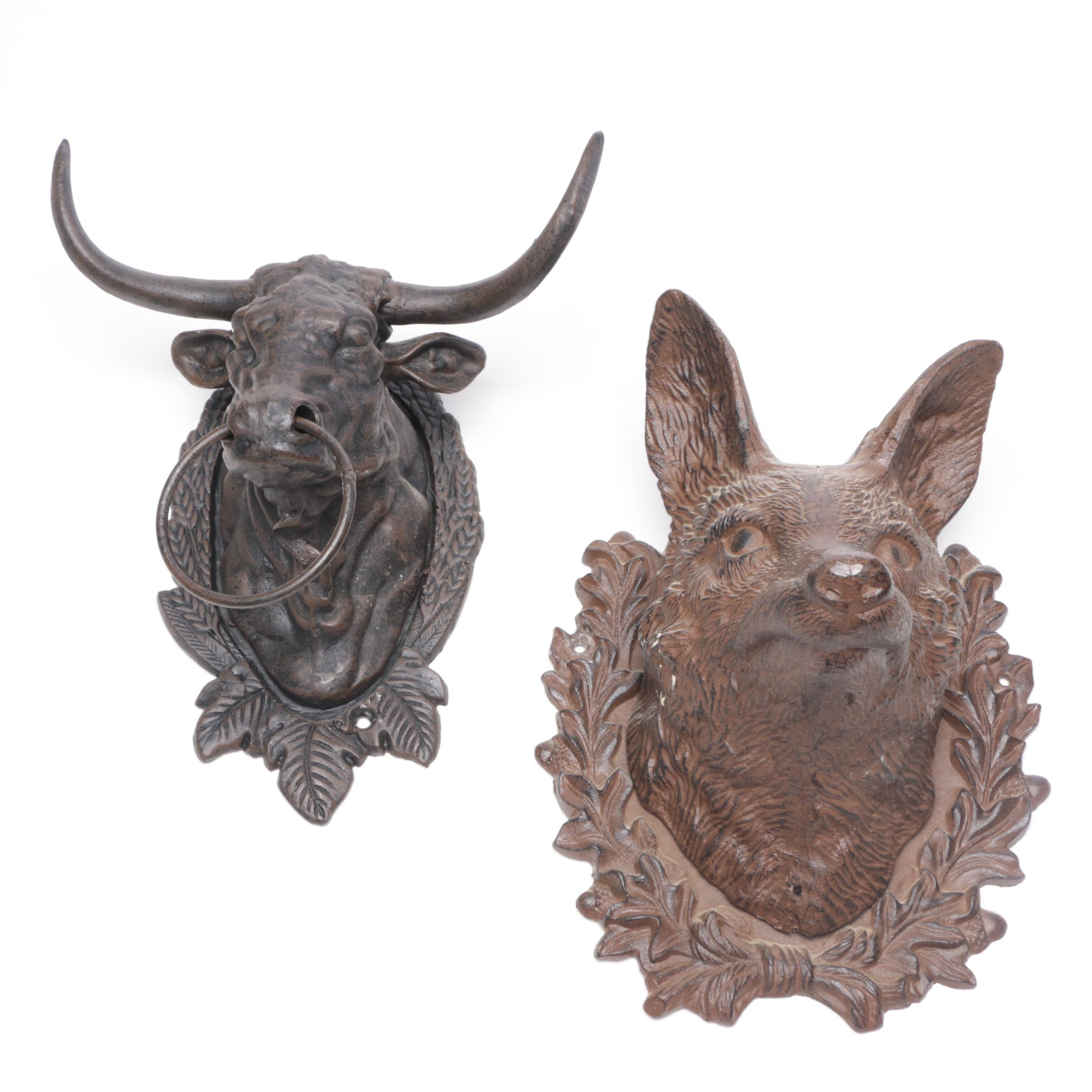 Cast Iron Fox and Bull Wall Mounts, Early to Mid 20th Century