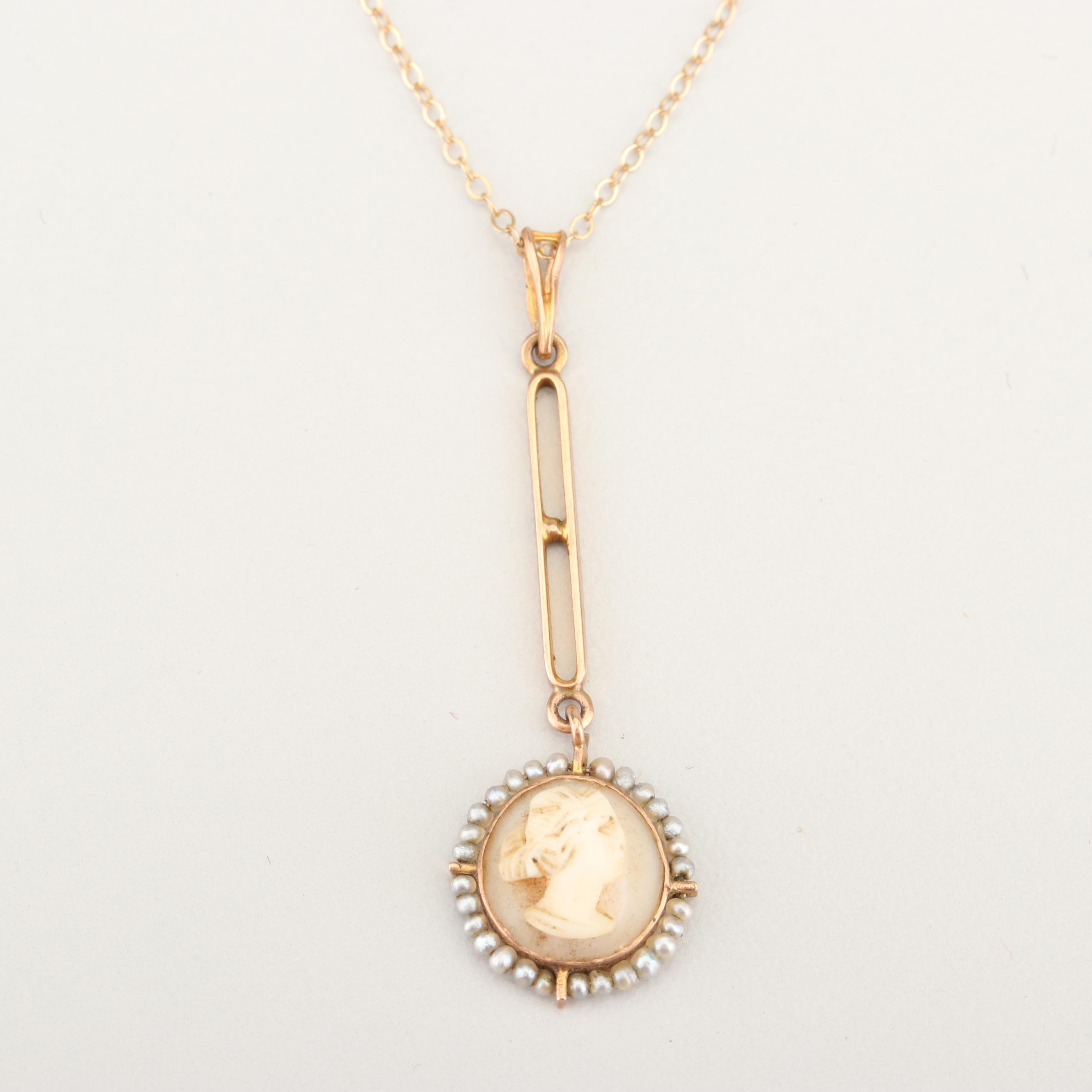 Vintage 10K Yellow Gold Cameo and Seed Pearl Pendant on a 14K Gold Chain