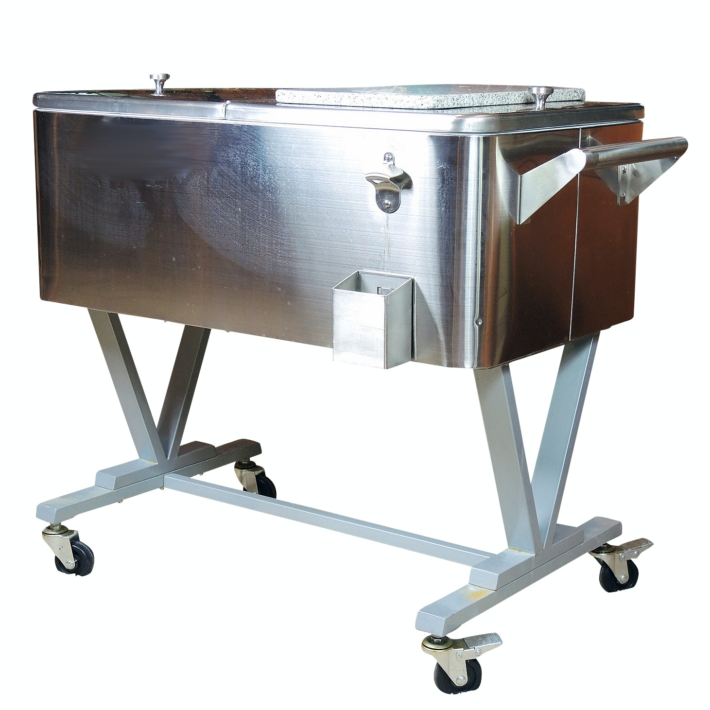 Stainless Upright Cooler Attributed to Frontgate with Granite Cutting Board