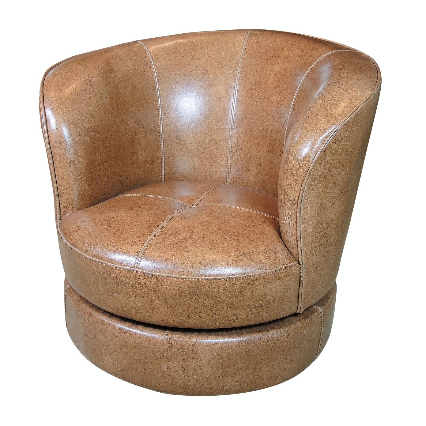 Contemporary Faux Leather Swivel Barrel Chair