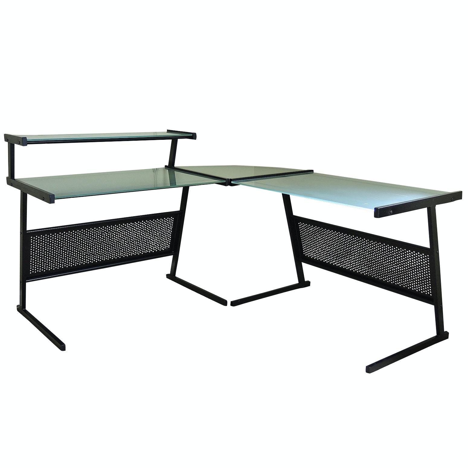 Contemporary Glass and Steel Corner Desk