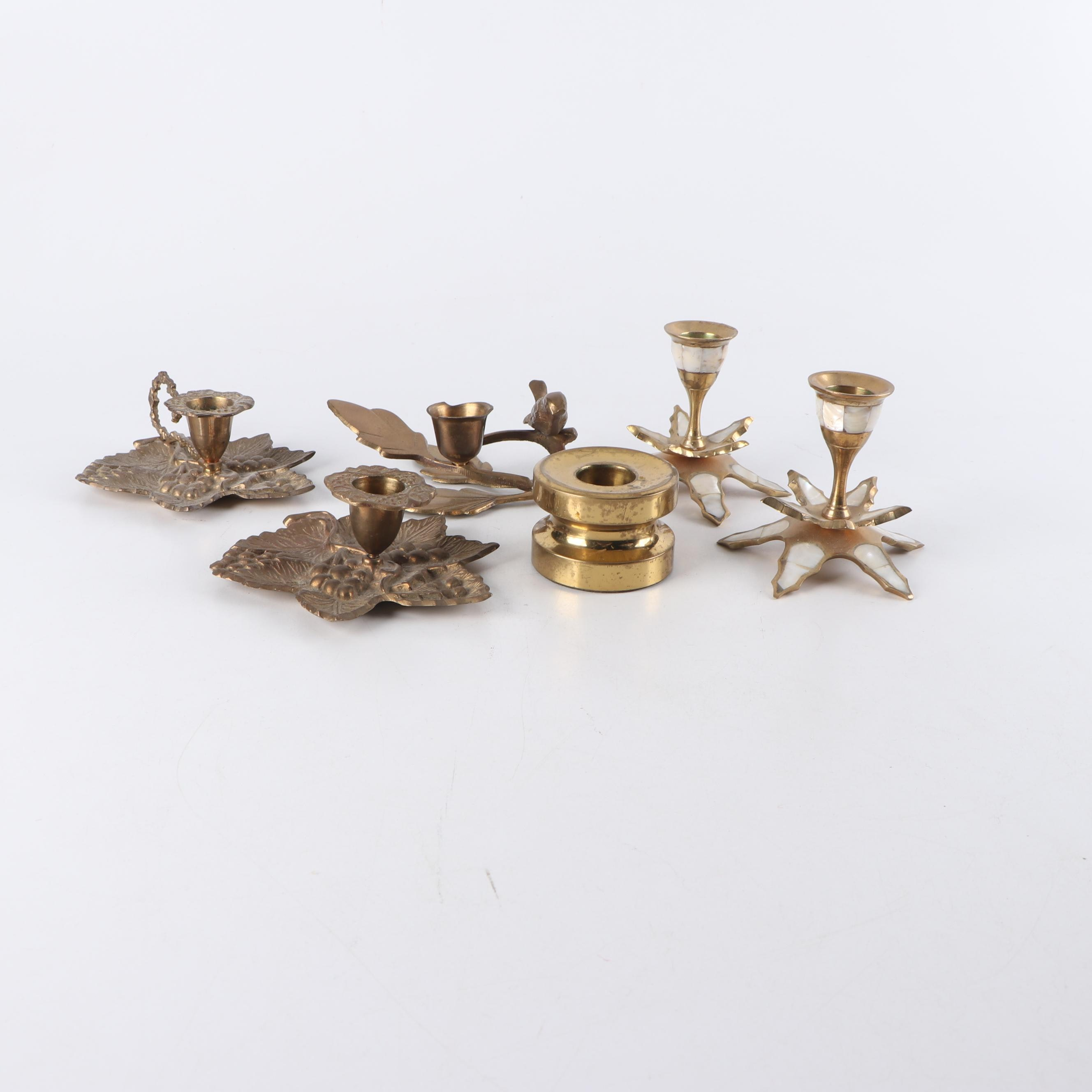 Mother of Pearl Inlaid and Other Brass Candlesticks, Mid 20th Century