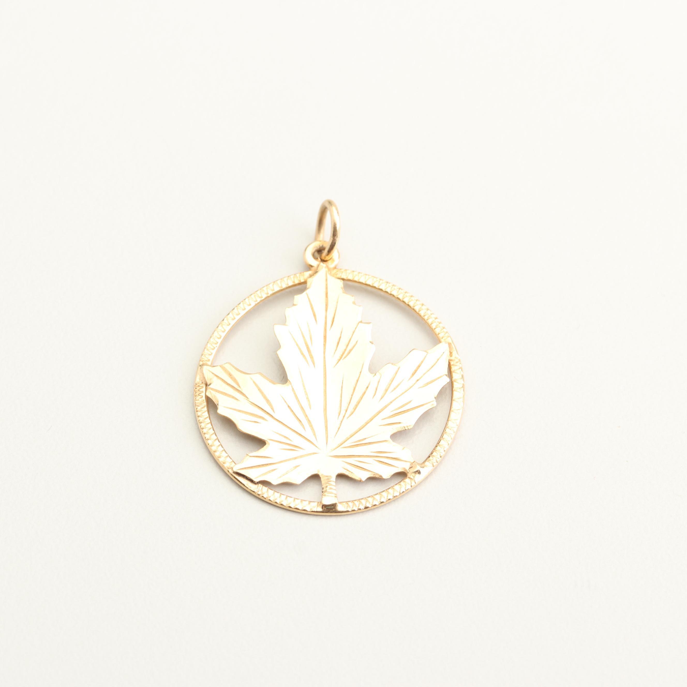 14K Yellow Gold Maple Leaf Pendant