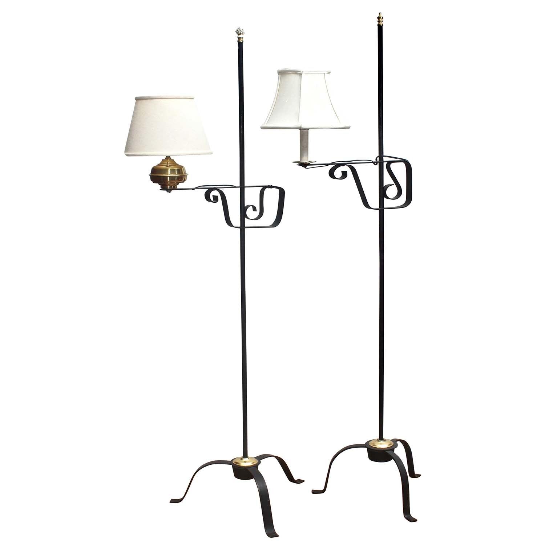 Scrolled Metal Bridge Arm Floor Lamps