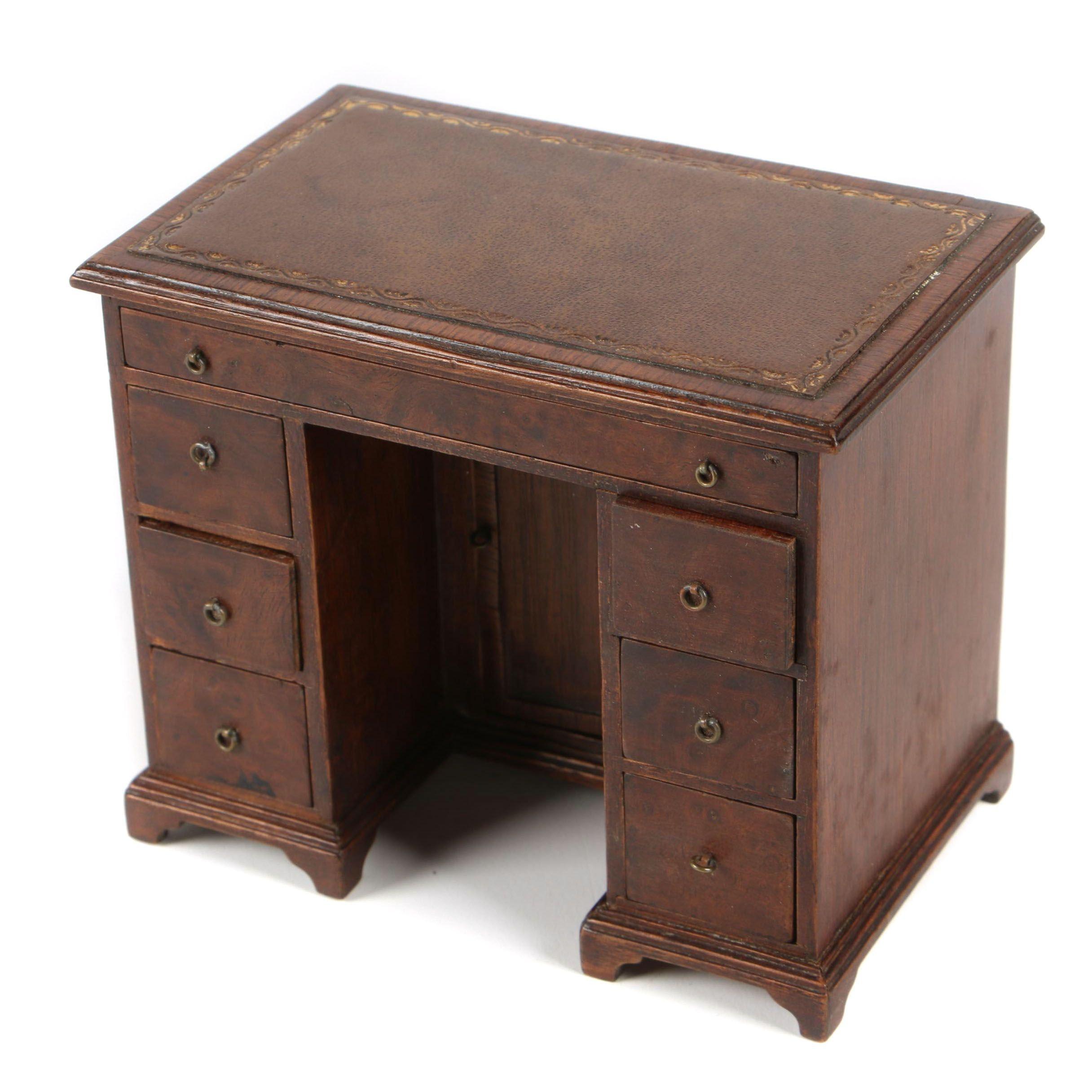 Handmade Miniature George III Style Walnut Leather-Top Kneehole Desk