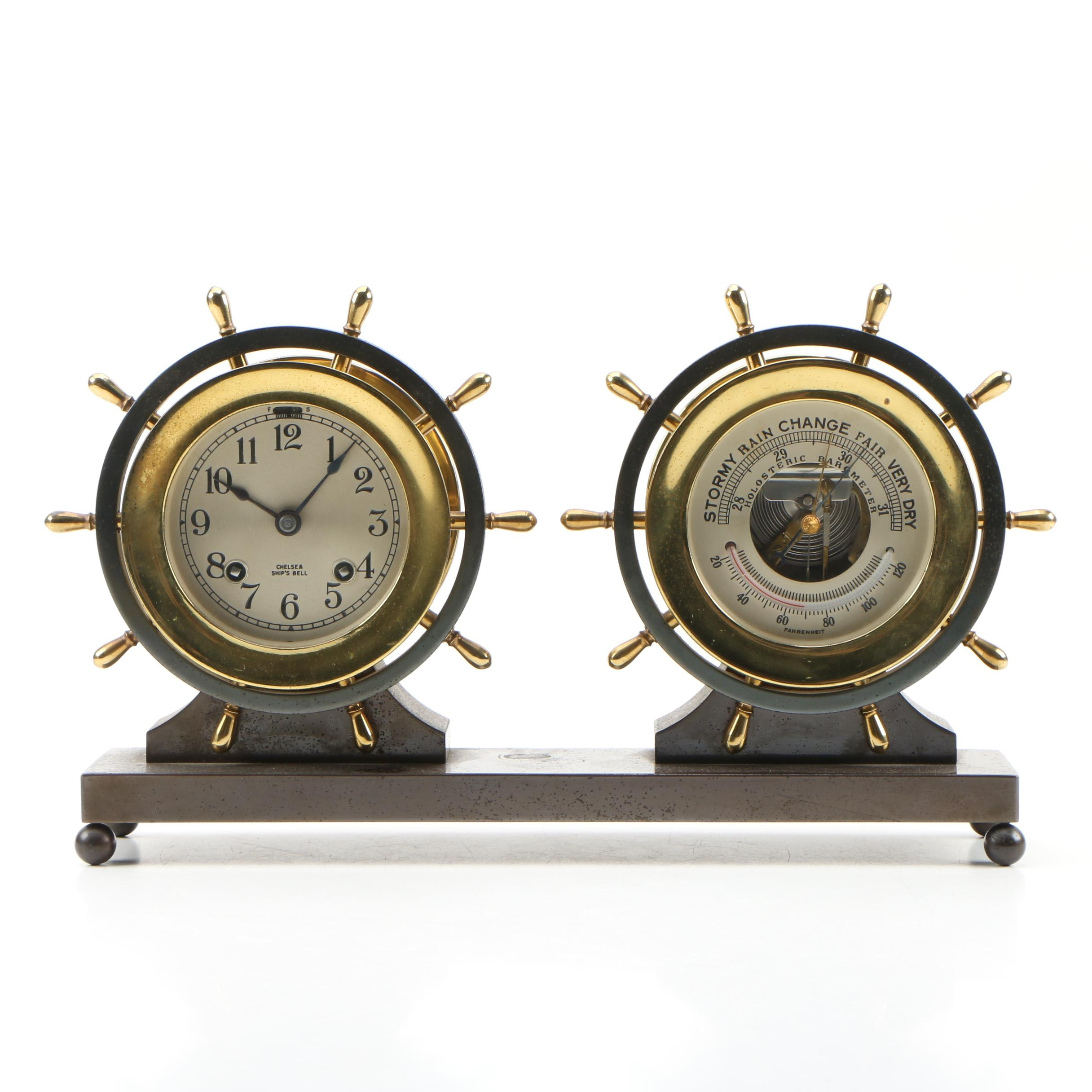 Chelsea Clock Co. Ship's Bell Clock and Weather Station