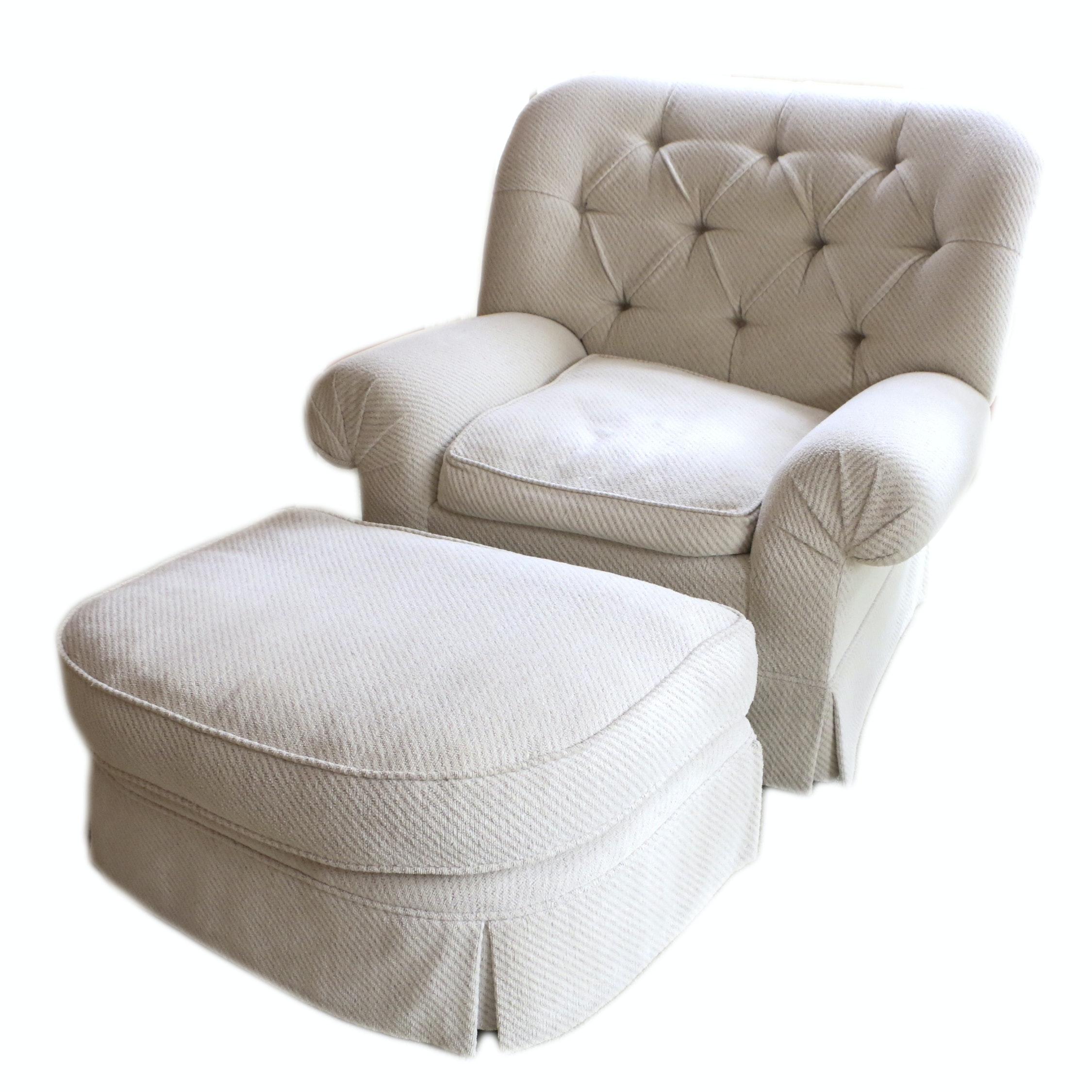 Button-Tufted Armchair with Ottoman