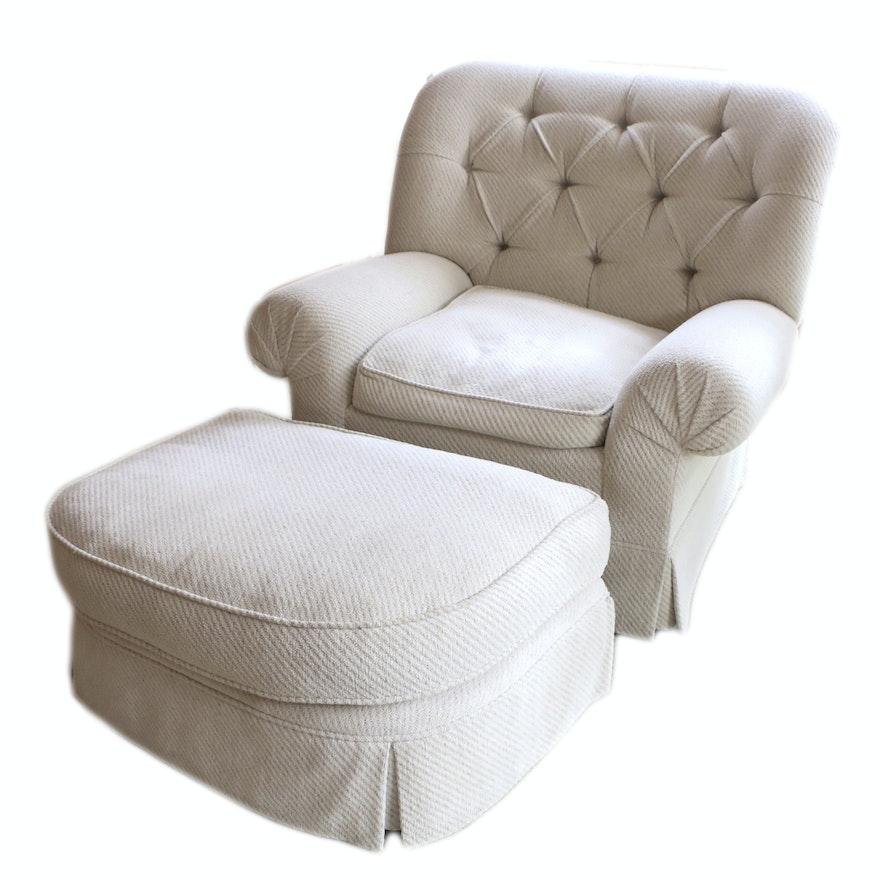 Button Tufted Armchair With Ottoman Ebth