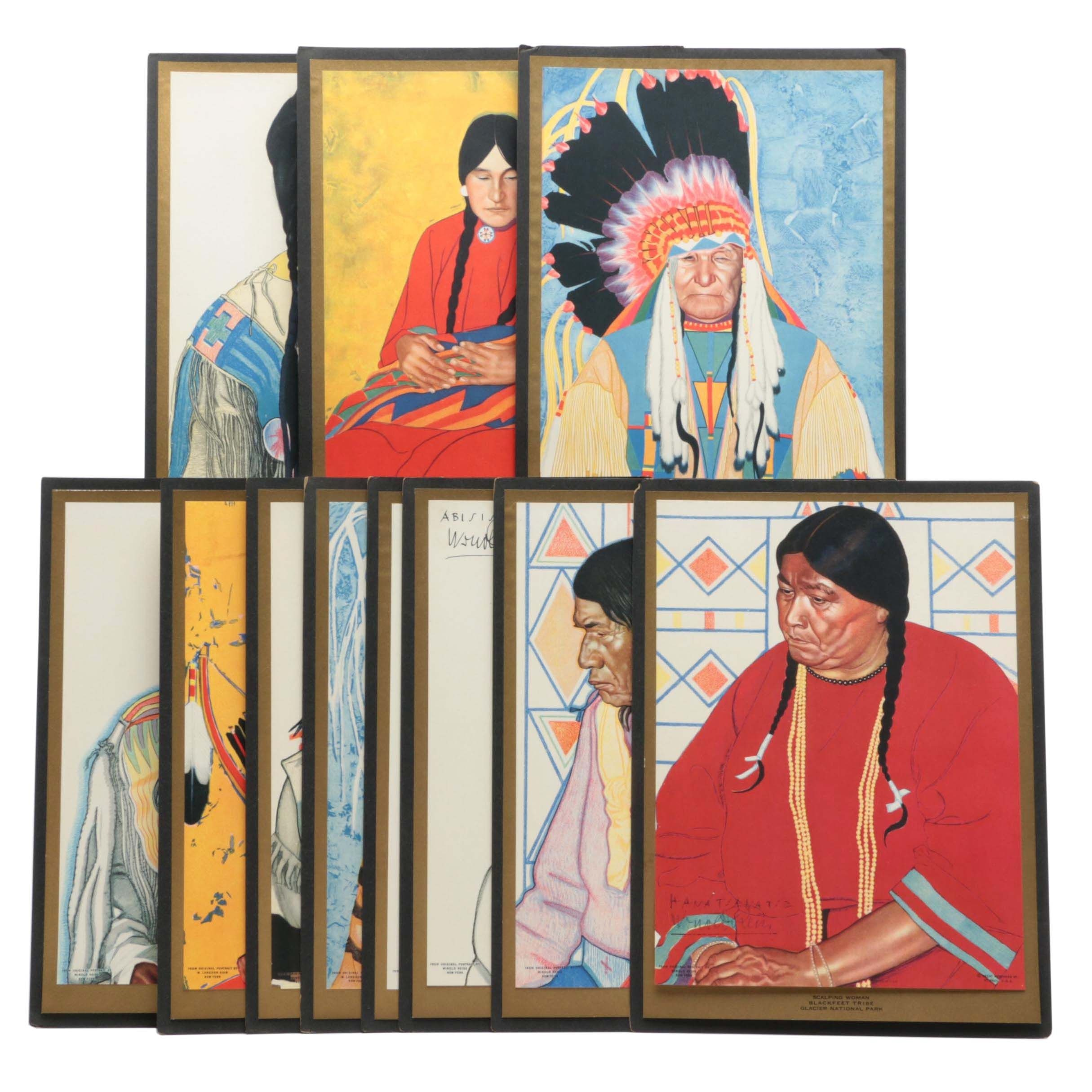Group of Blackfeet Tribe Portrait Lithographs