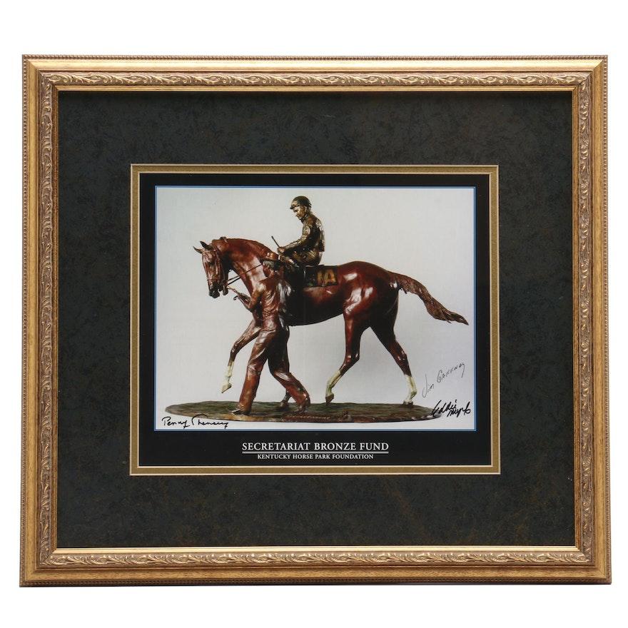 Secretariat Kentucky Horse Park Bronze Fund Framed Display Signed