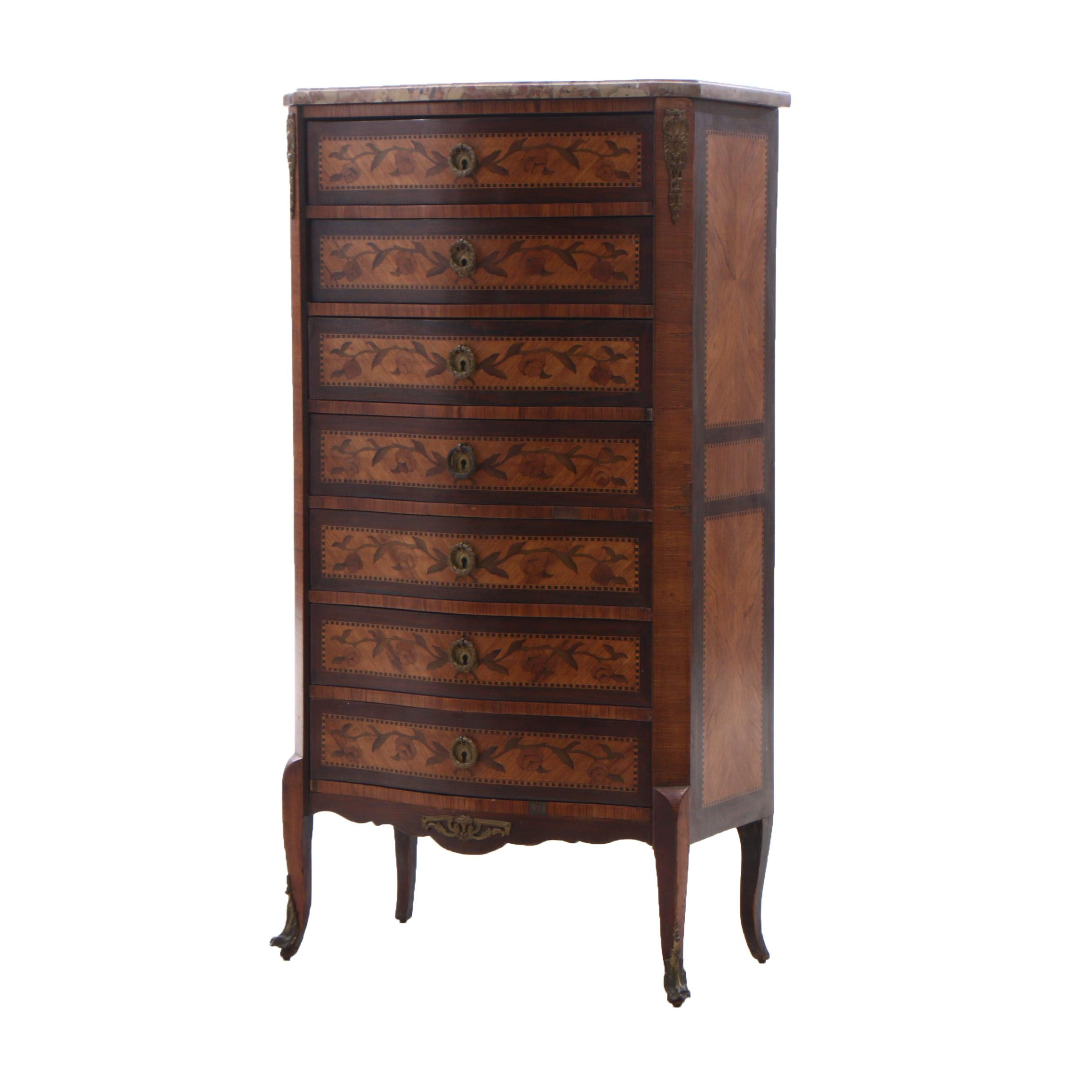 Louis XV Style Inlaid Lingerie Chest