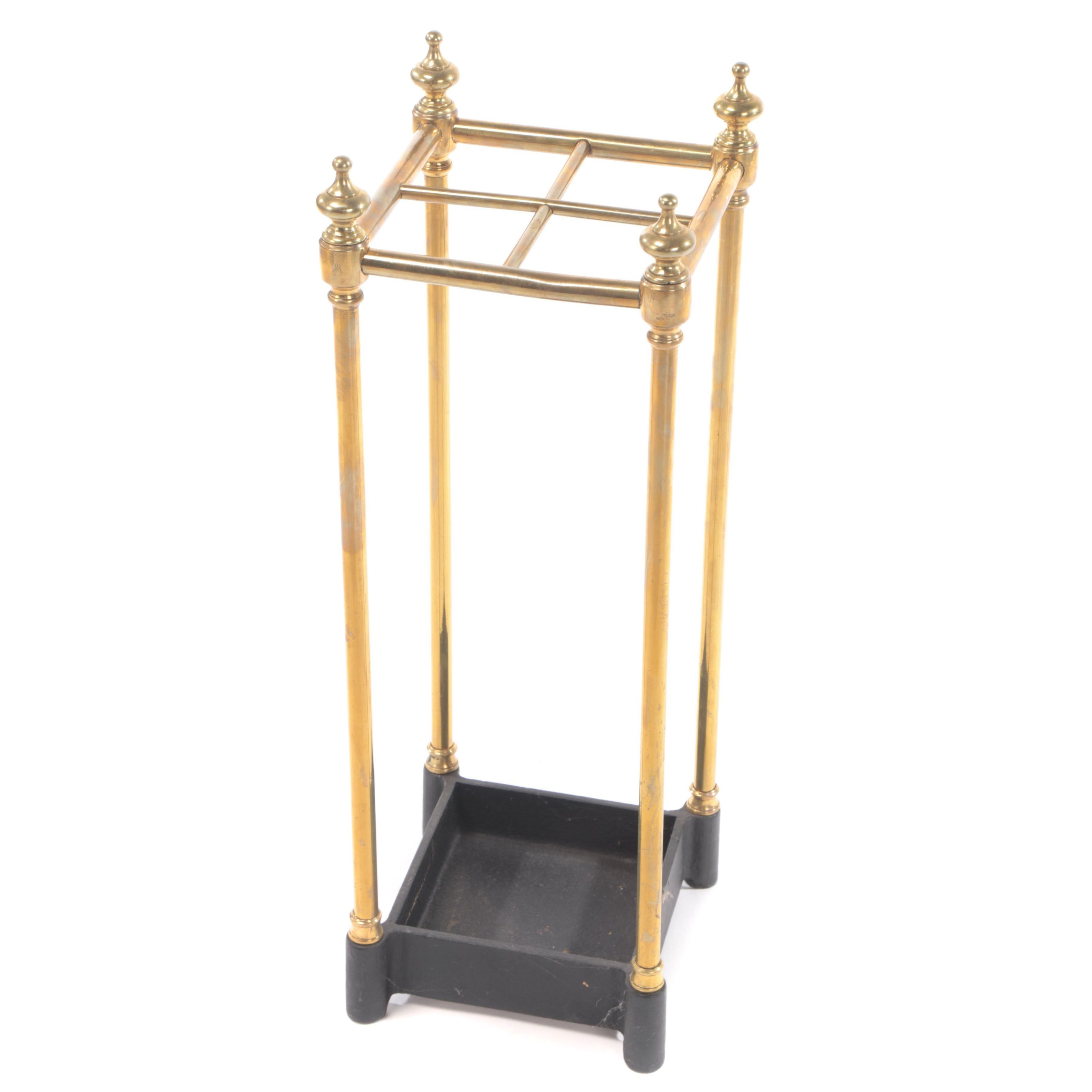 Late Victorian Brass and Cast Iron Stick Stand, Late 19th/Early 20th Century