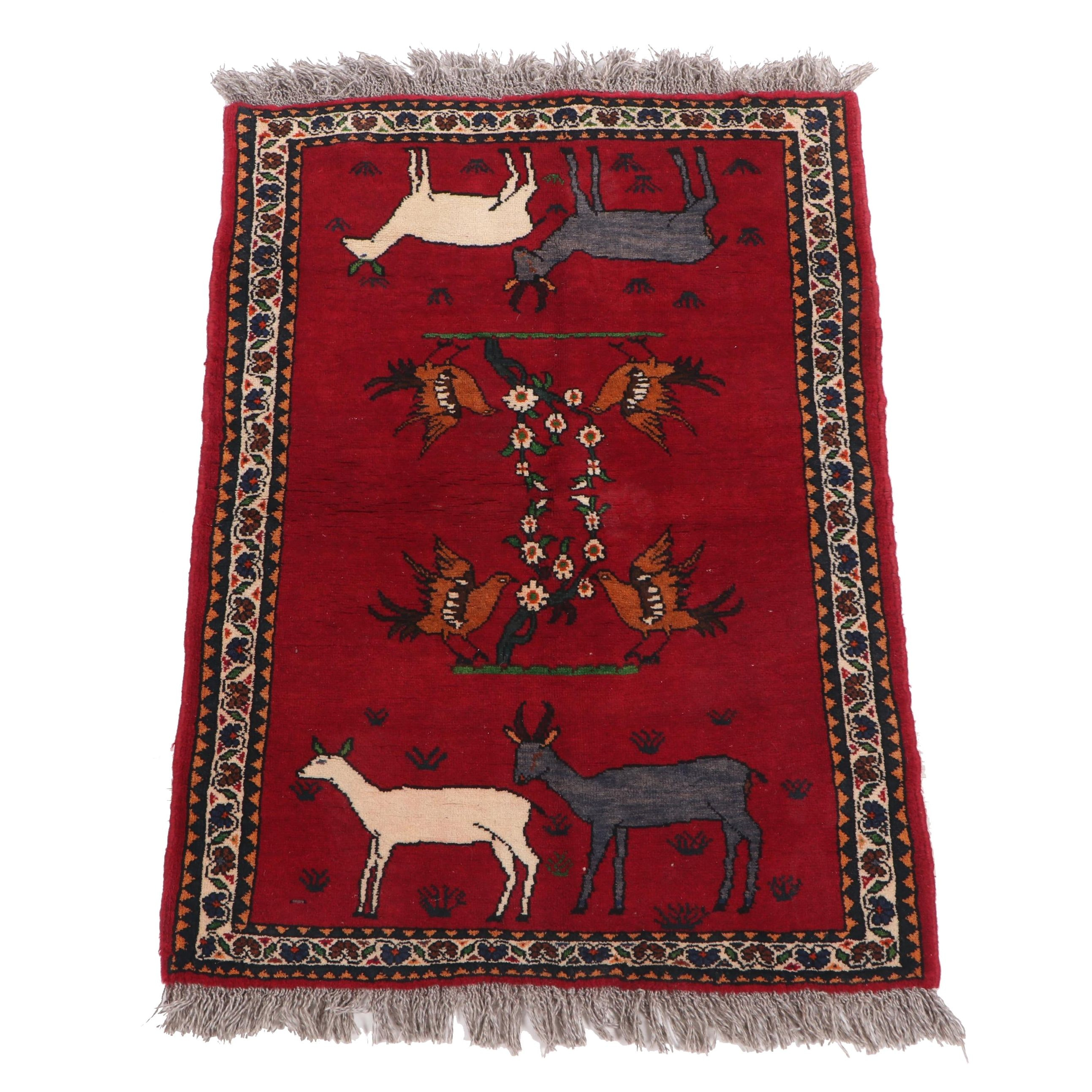 Hand-Knotted Qashqai or Shiraz Pictorial Wool Rug