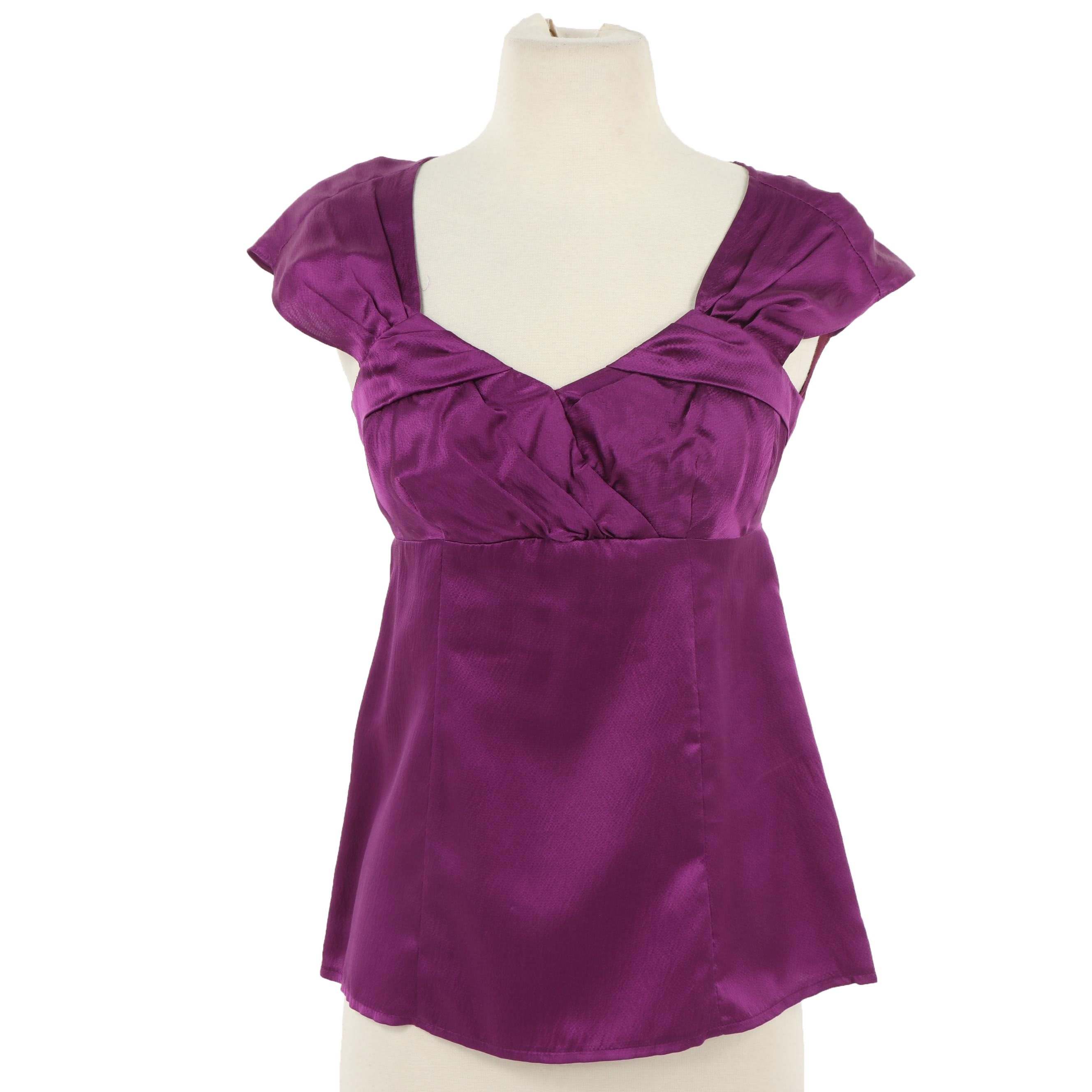Nanette Lepore Plum Silk Top