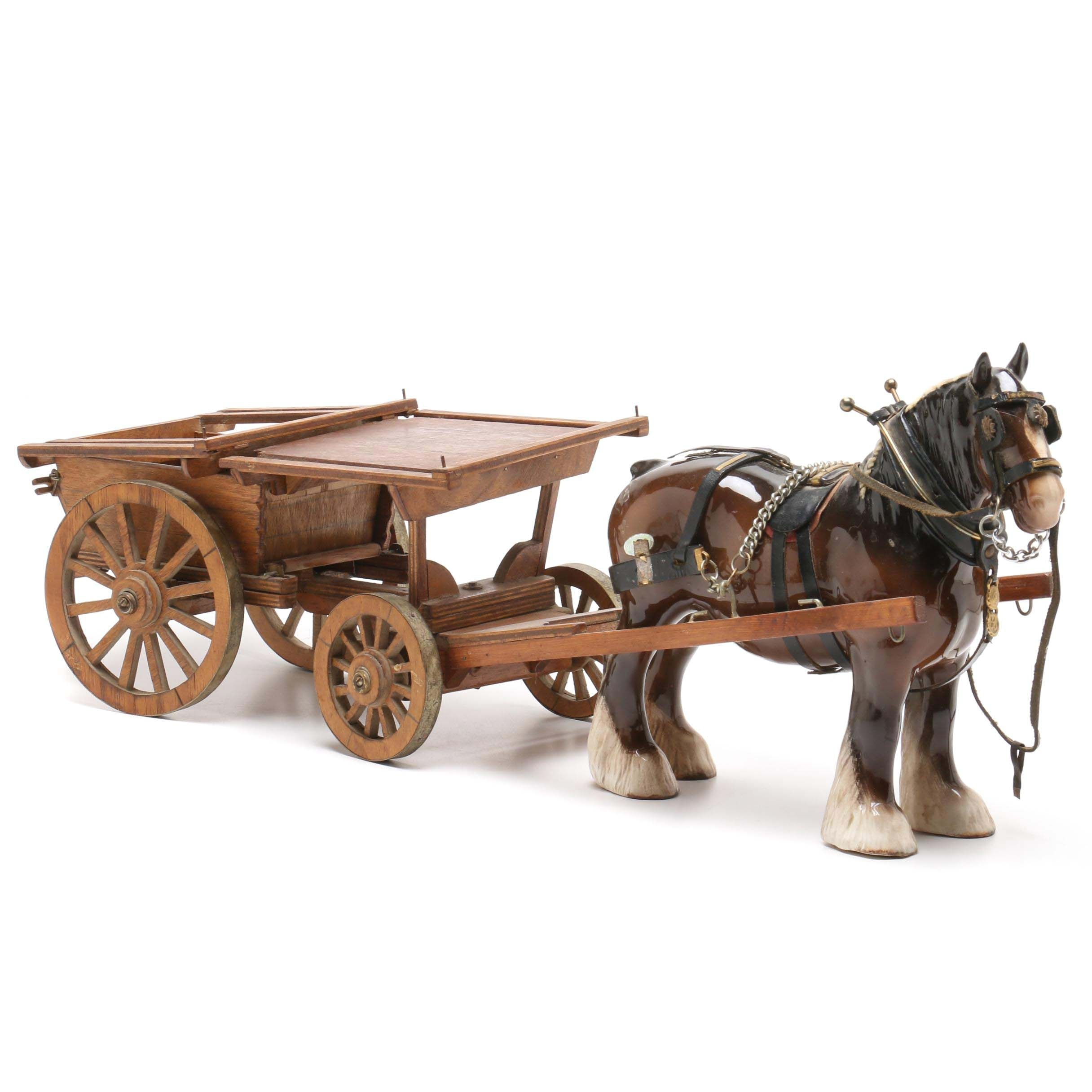 Beswick Porcelain Clydesdale with Wooden Wagon Figurine, Mid-Century