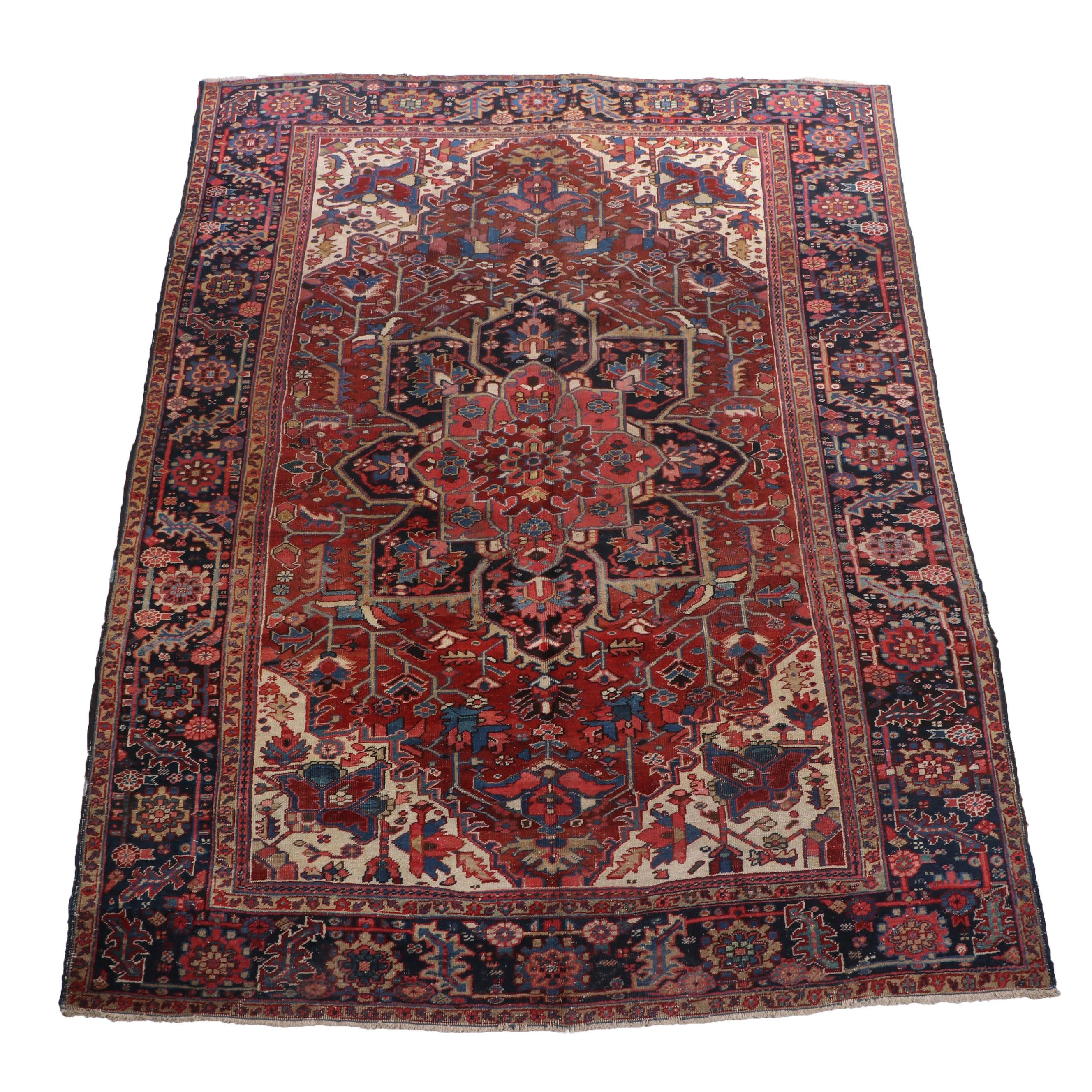 Hand-Knotted Persian Heriz Room Sized Rug, Ca. 1930