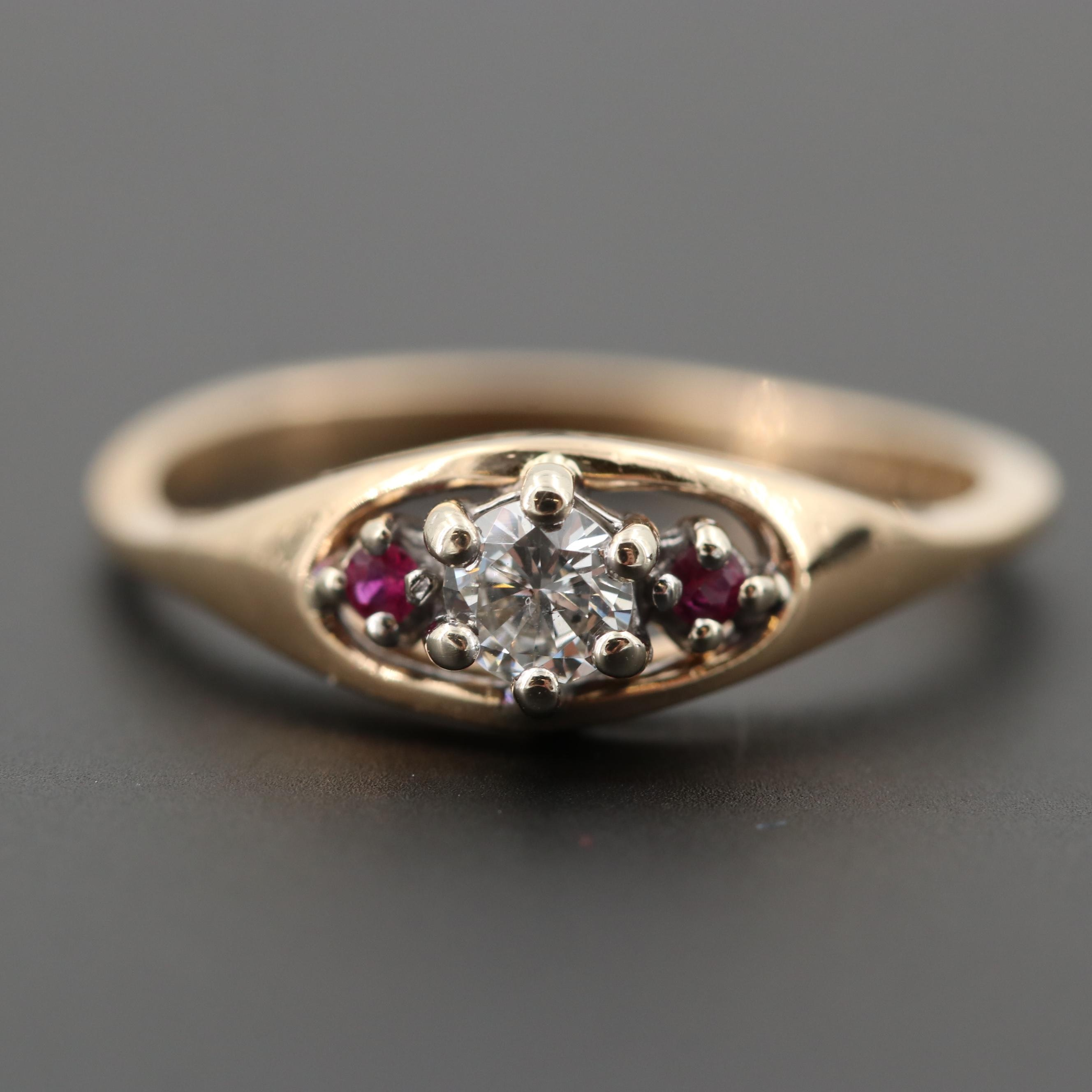 10K Yellow Gold Diamond and Ruby Ring
