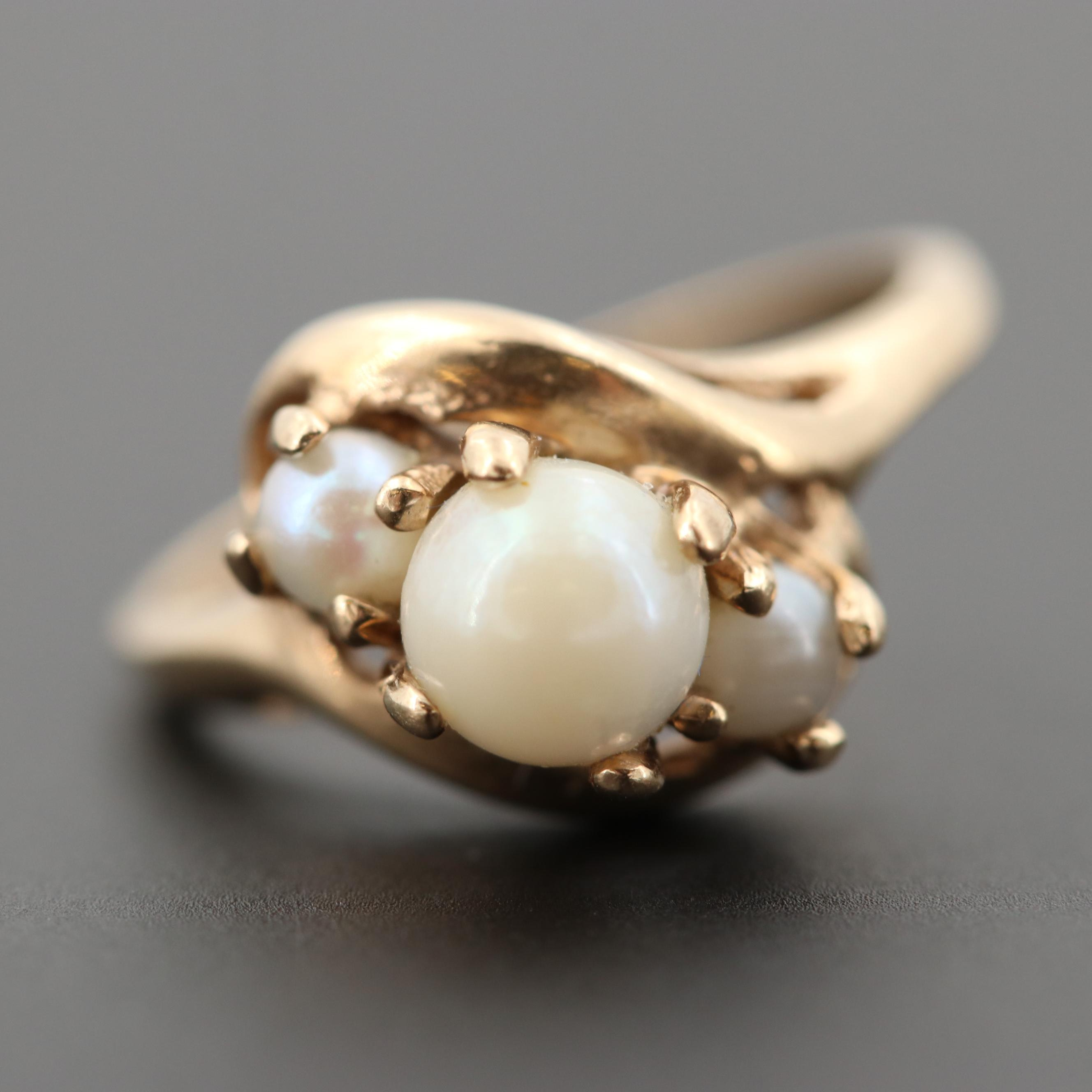 Vintage 10K Yellow Gold Cultured Pearl Crossover Ring