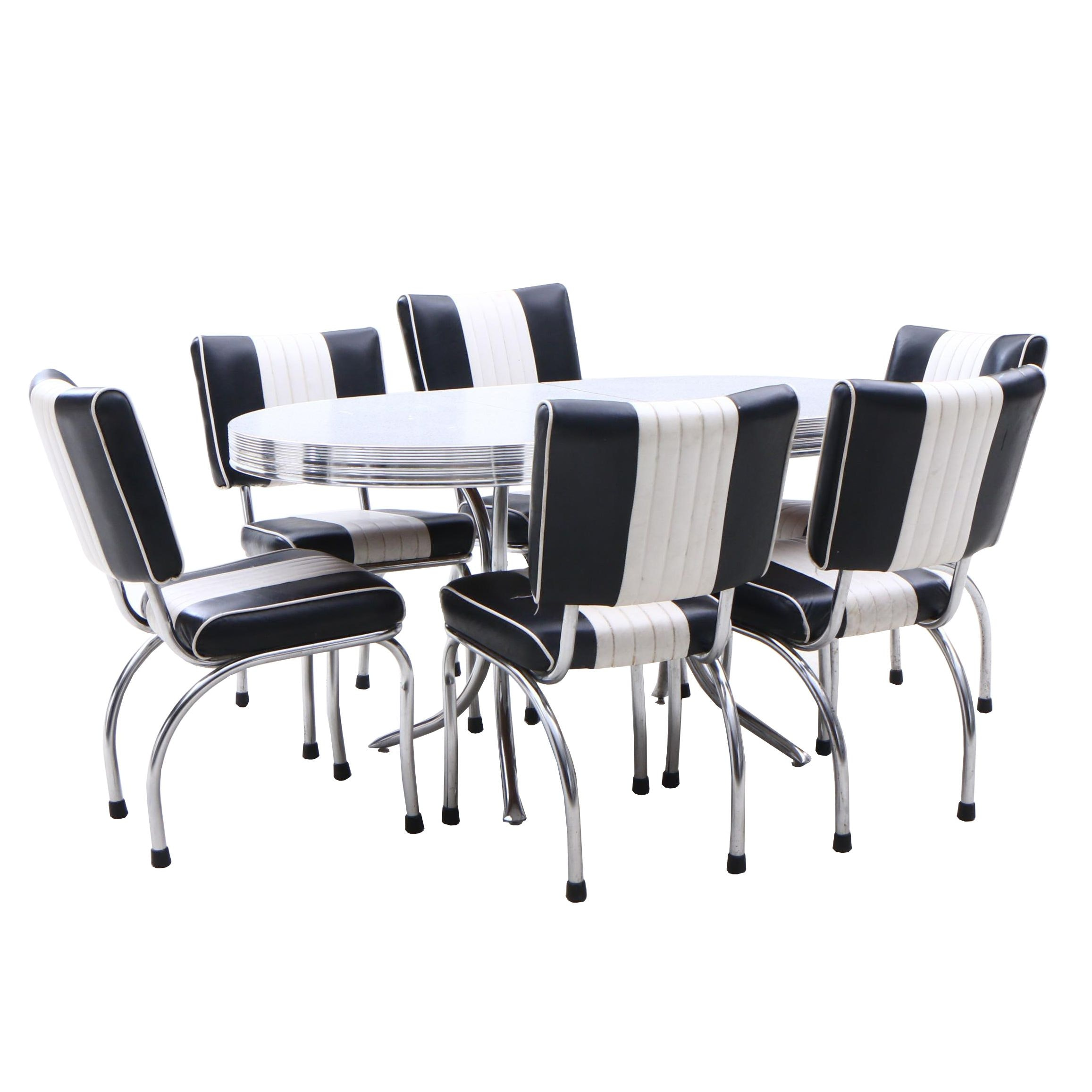 1950s Chrome Table and Six Chairs by Stoneville Furniture Company