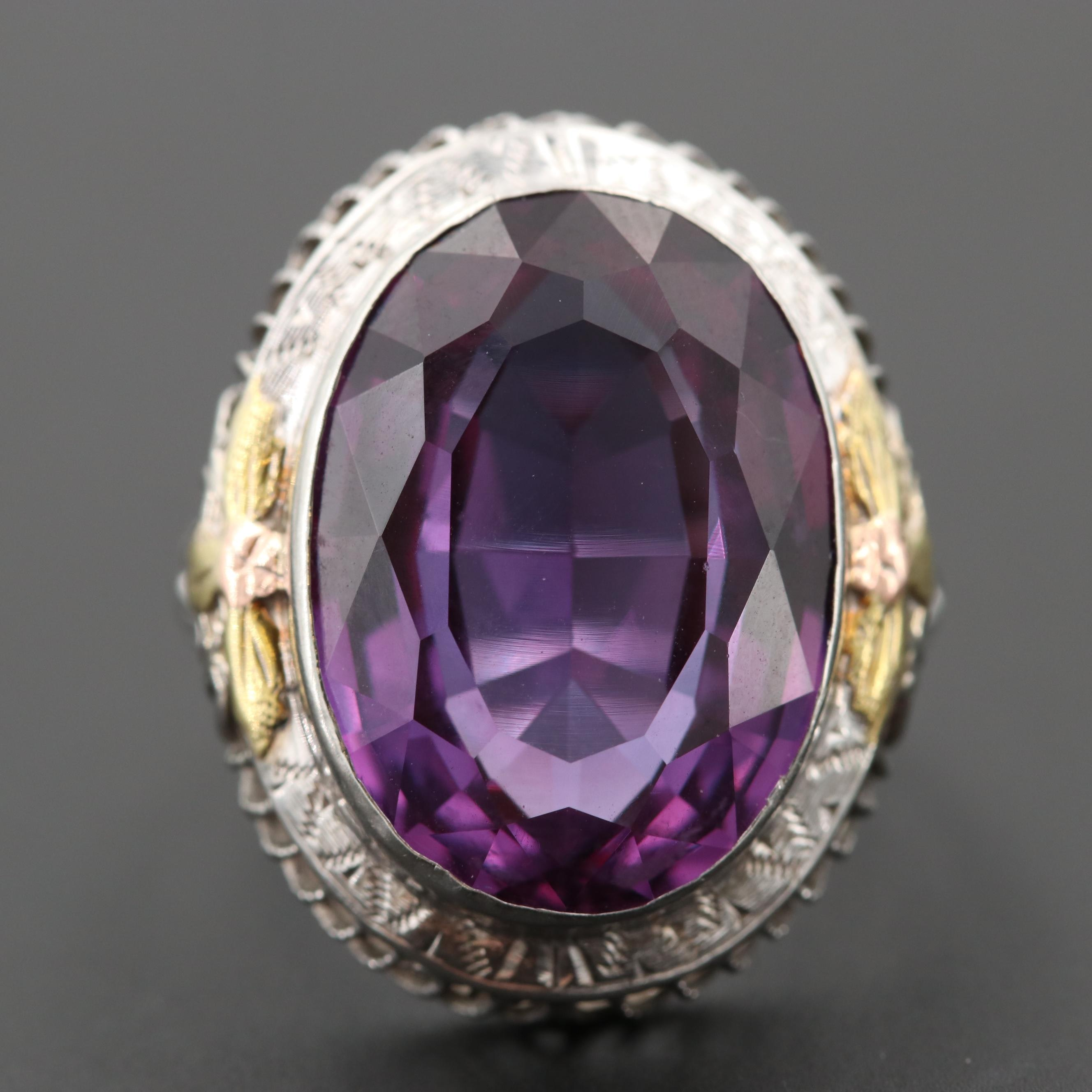 Art Deco 10K White Gold Synthetic Corundum Openwork Ring with 14K Gold Accents