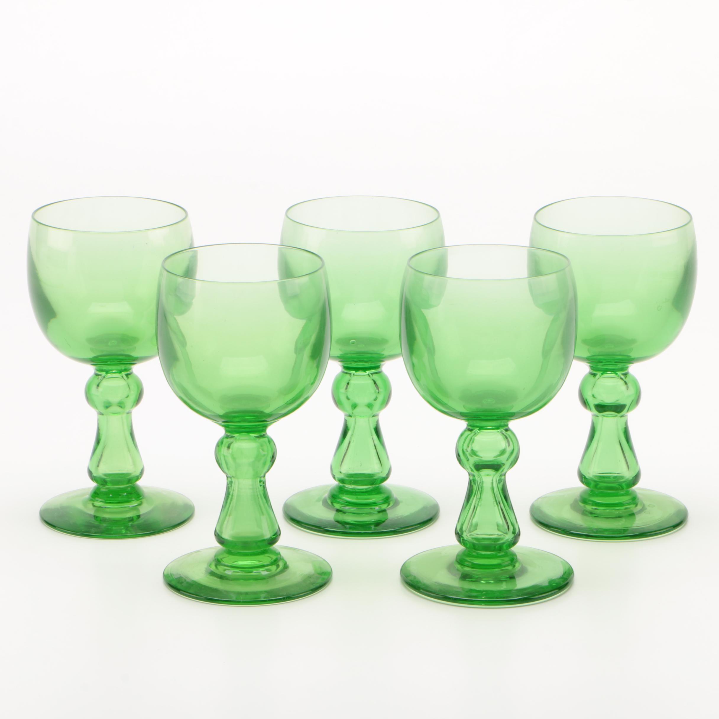 Green Blown Glass Goblets