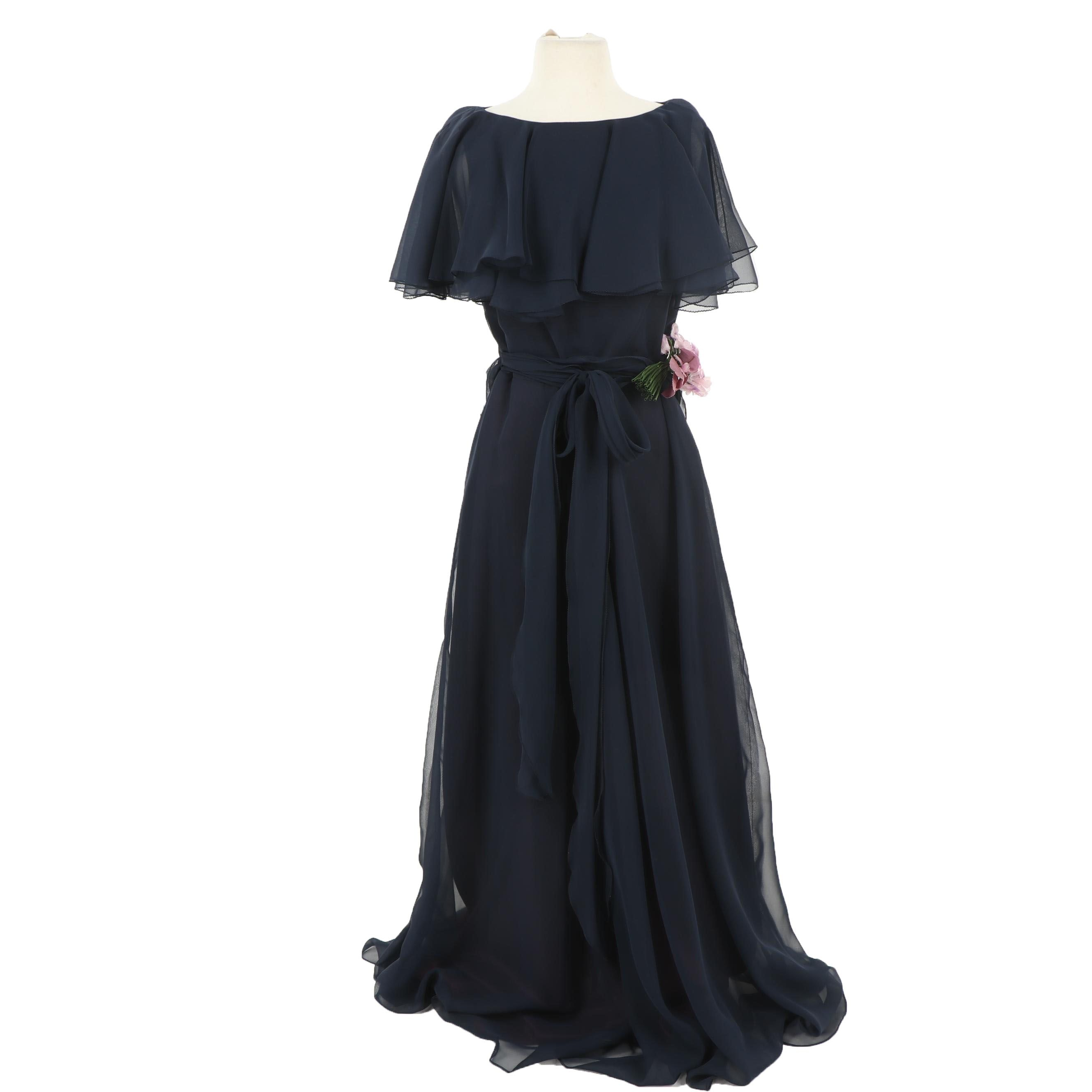 Marita by Anthony Muto Navy Chiffon Evening Gown, Vintage