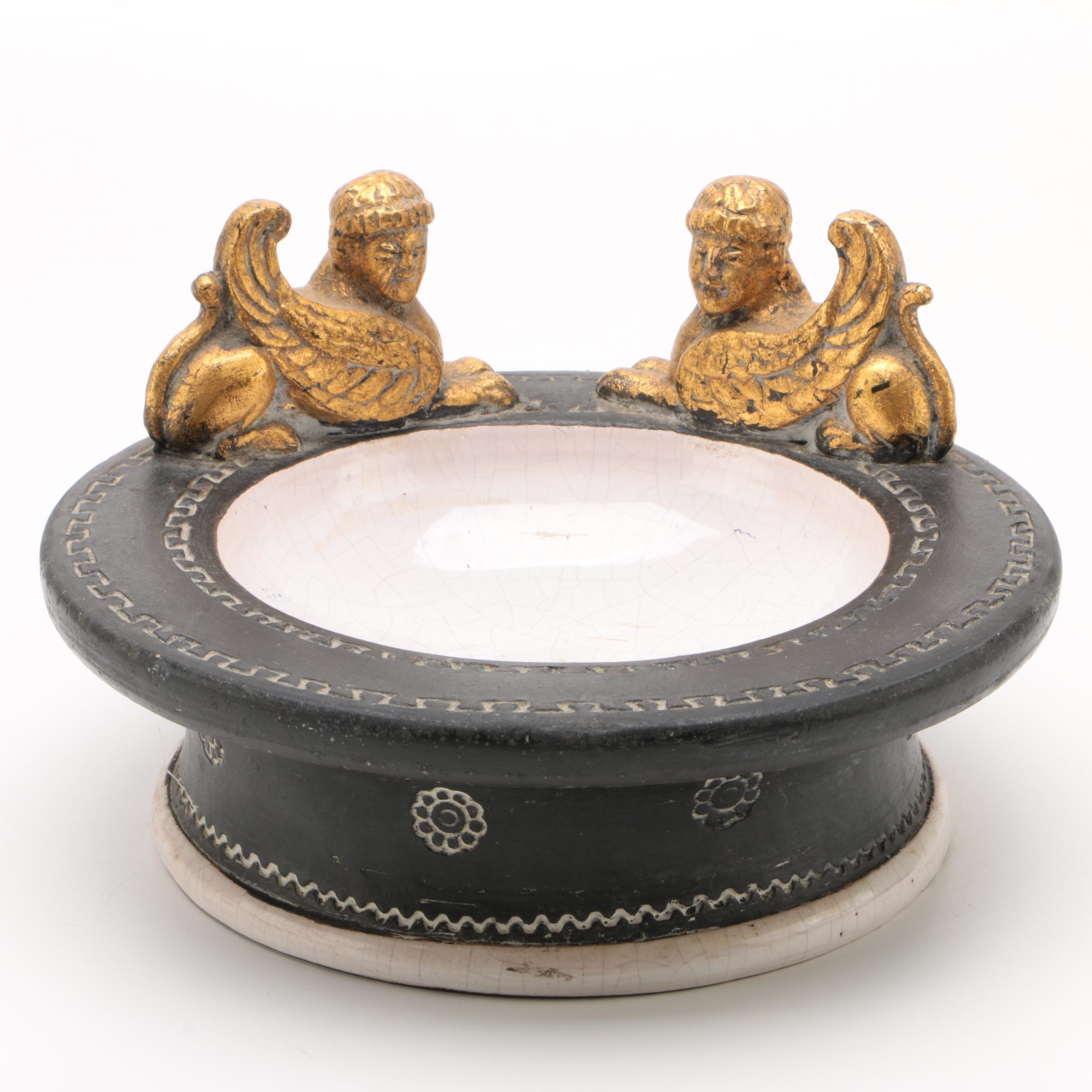 Egyptian Revival Ceramic Table Top Bird Bath