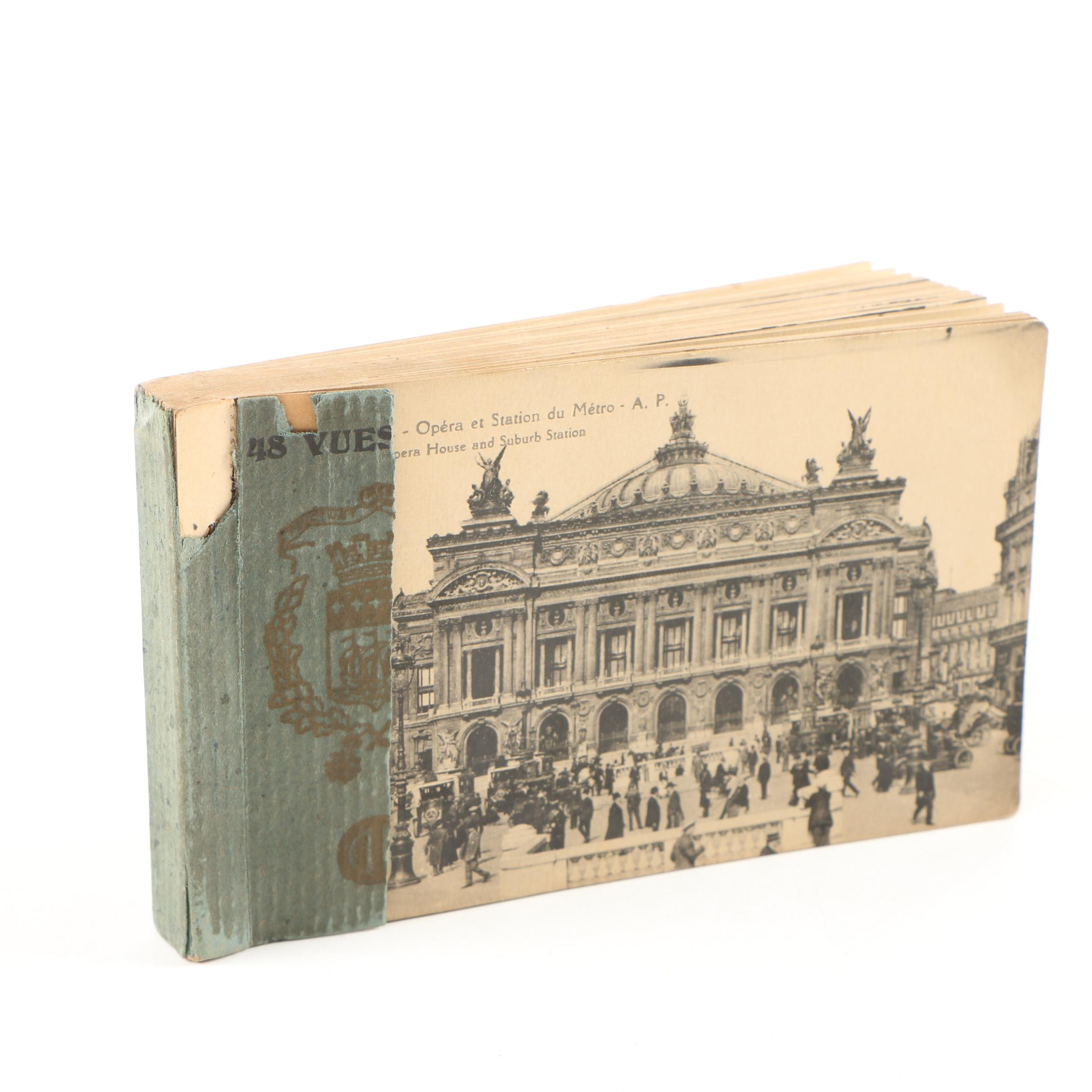 Early 20th Century Booklet of Collotype Postcards of Paris