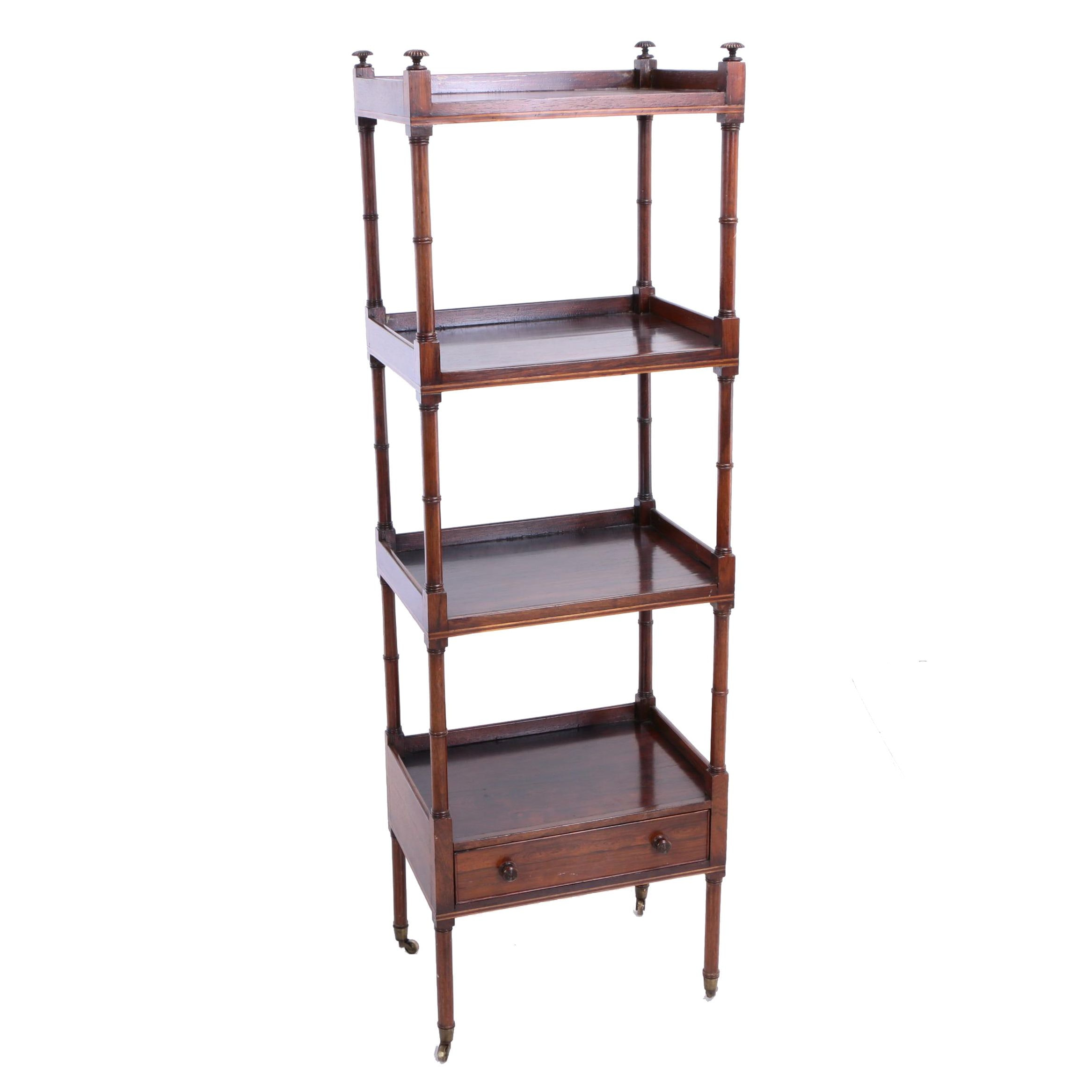 English String-Inlaid Rosewood Four-Tier Whatnot