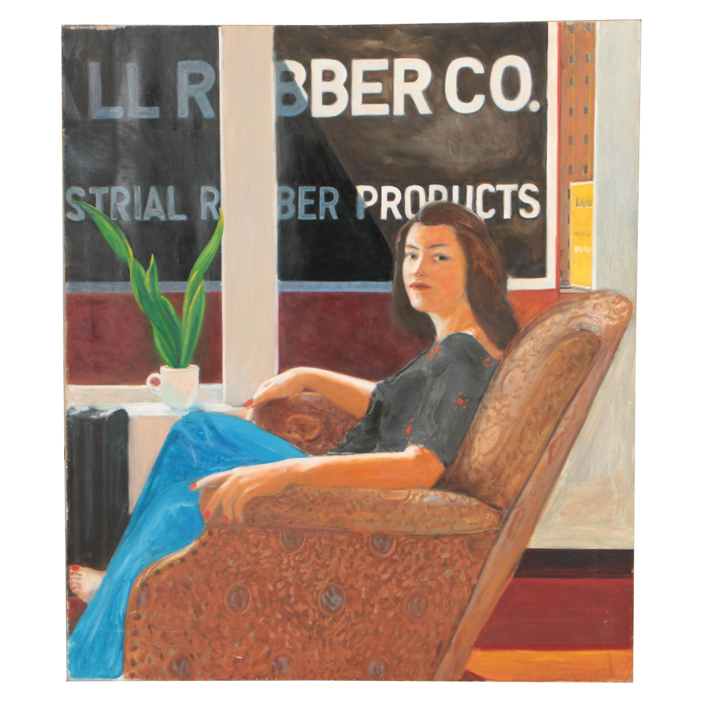 Peter Rappoli Oil Painting of Seated Woman