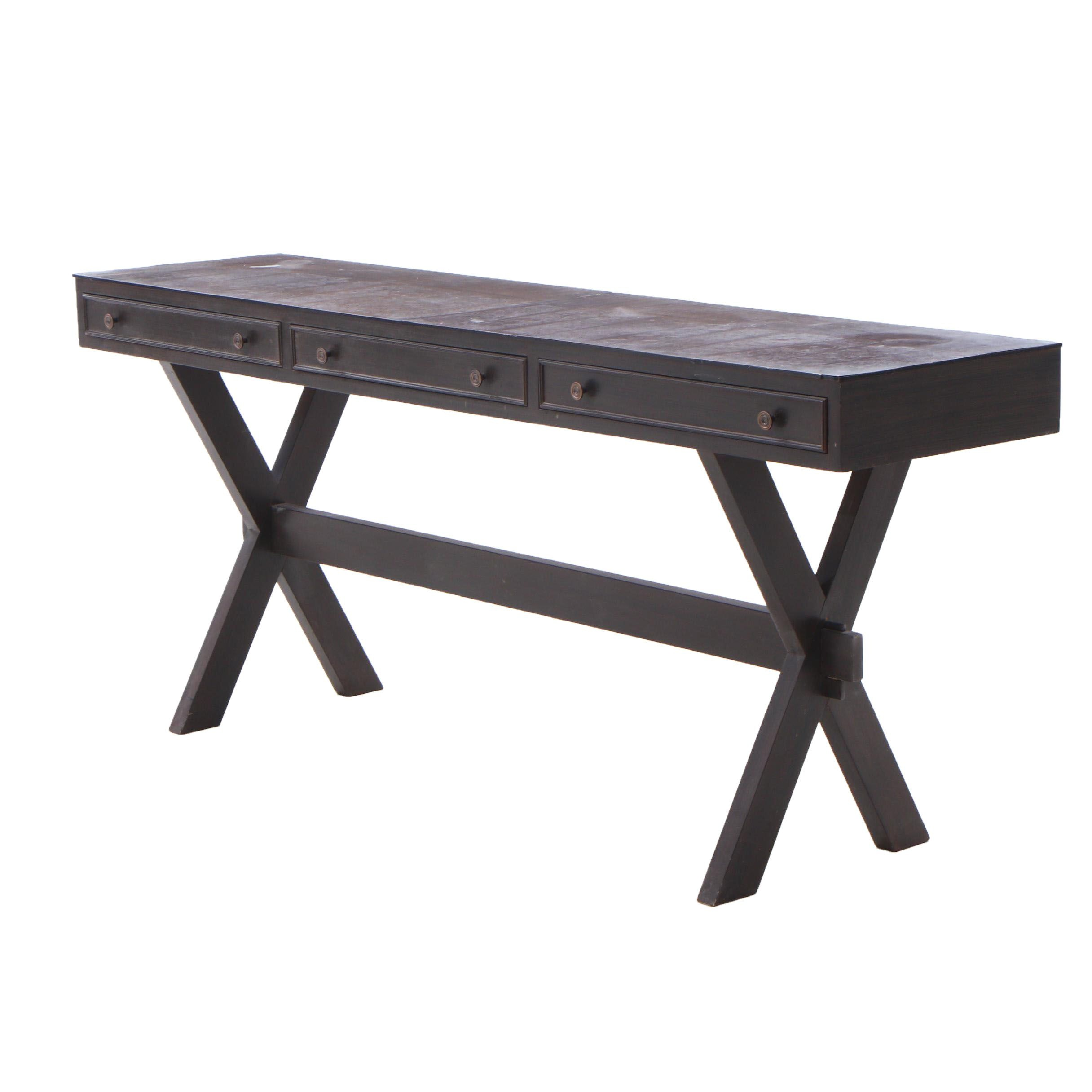 Modernist Embossed Linoleum Top Console Table, Late 20th Century