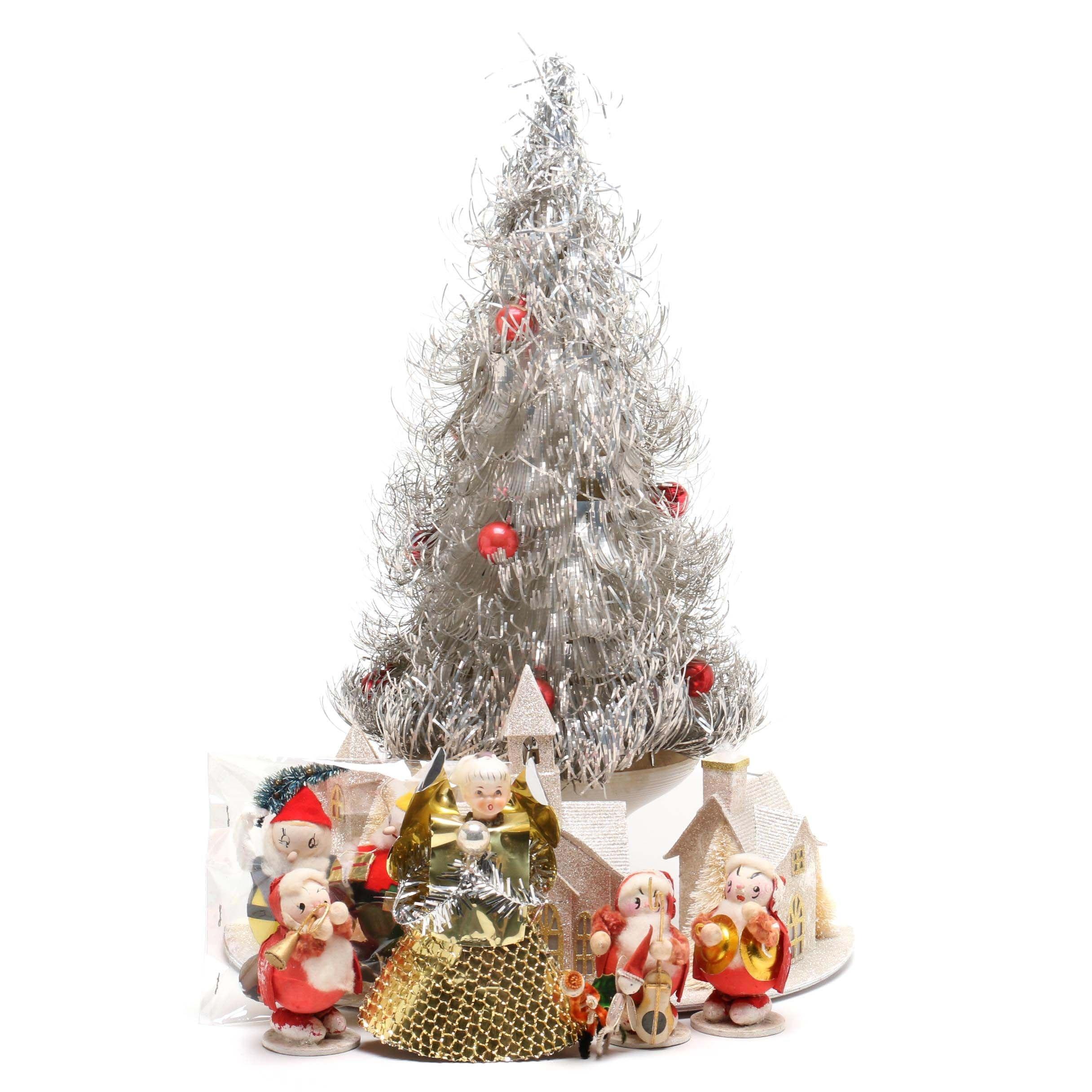 Aluminum Table Top Christmas Tree With Christmas Décor