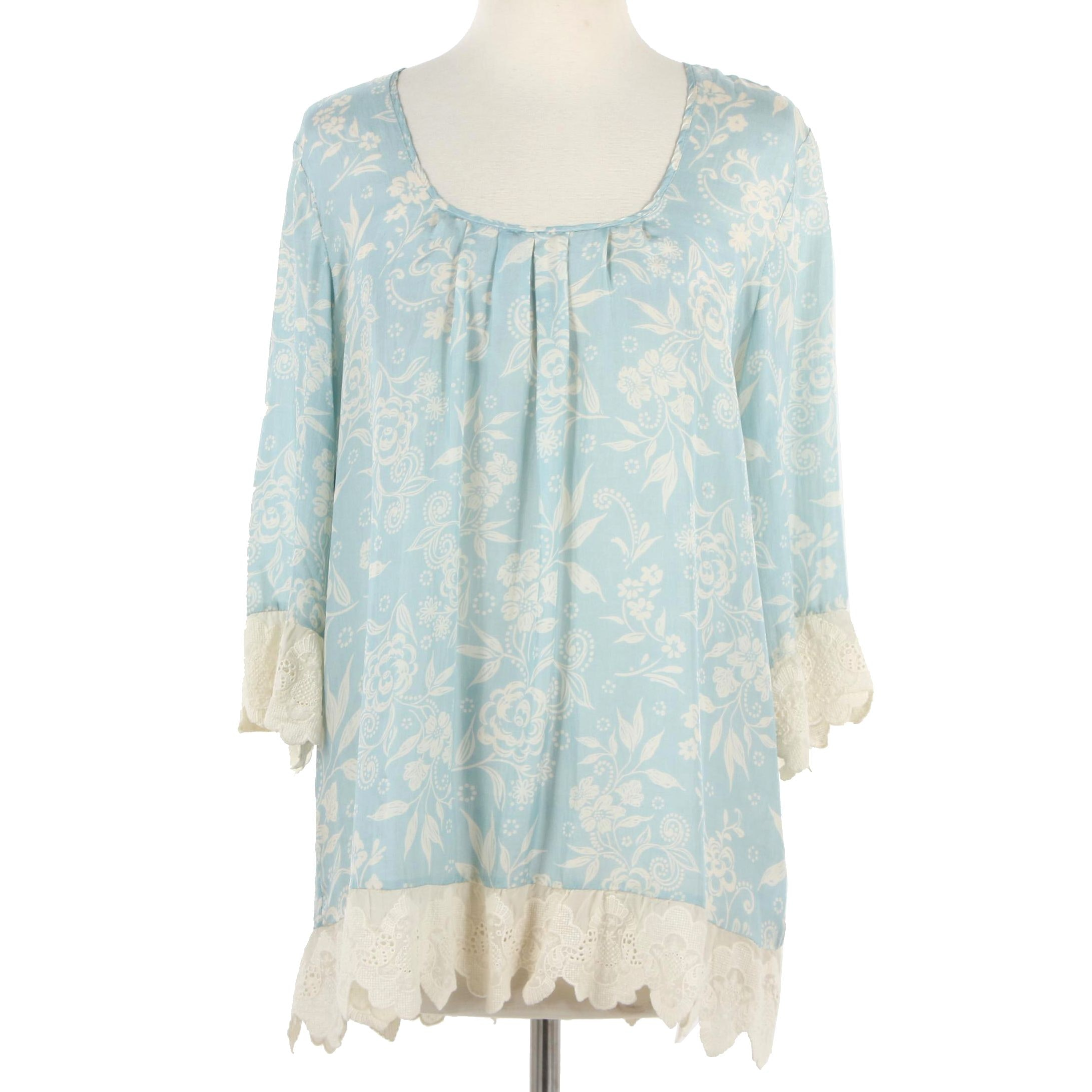 Johnny Was Silk Floral Print Blouse with Lace Trim