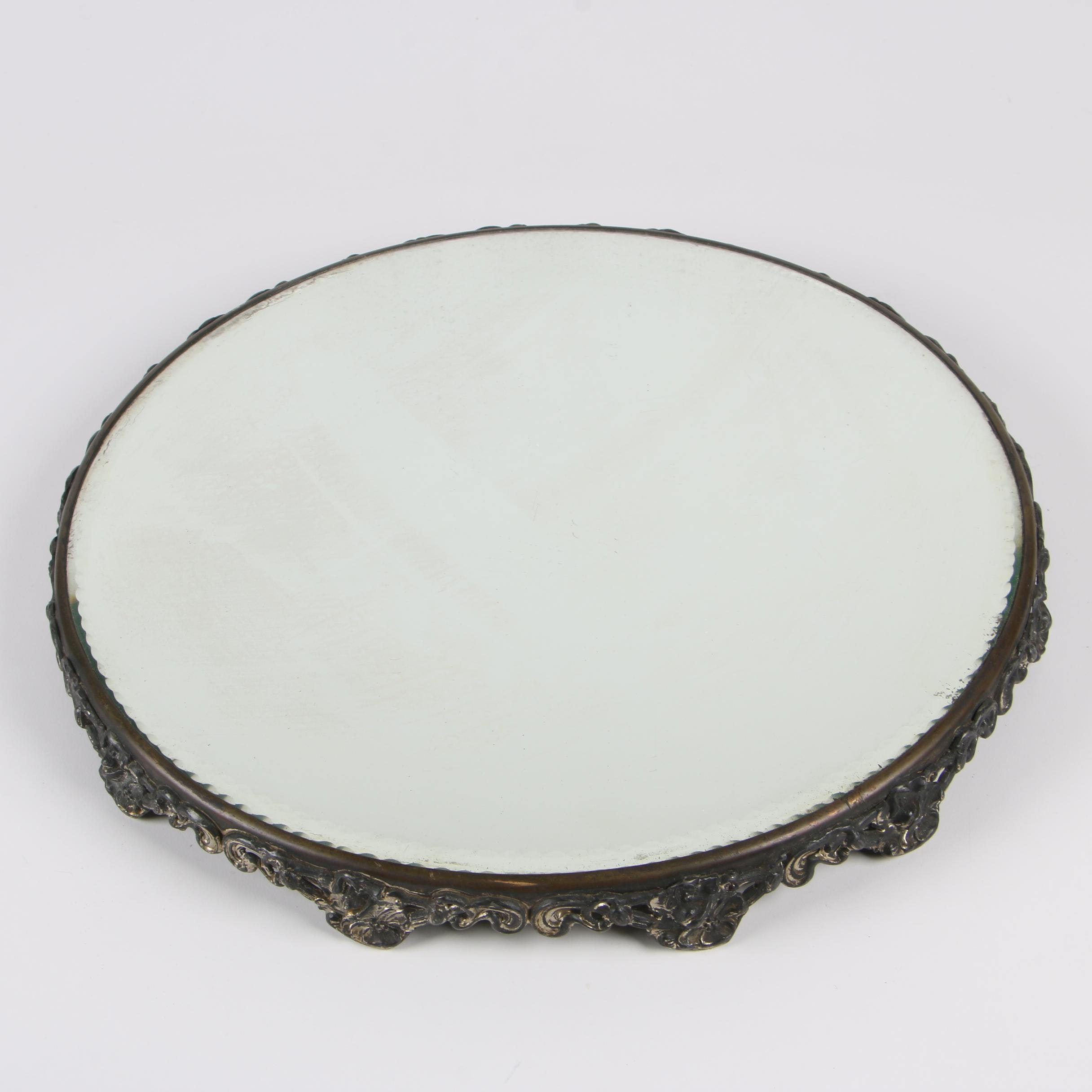 Victorian Style Silver Plate Mirrored Vanity Tray, Early 20th Century