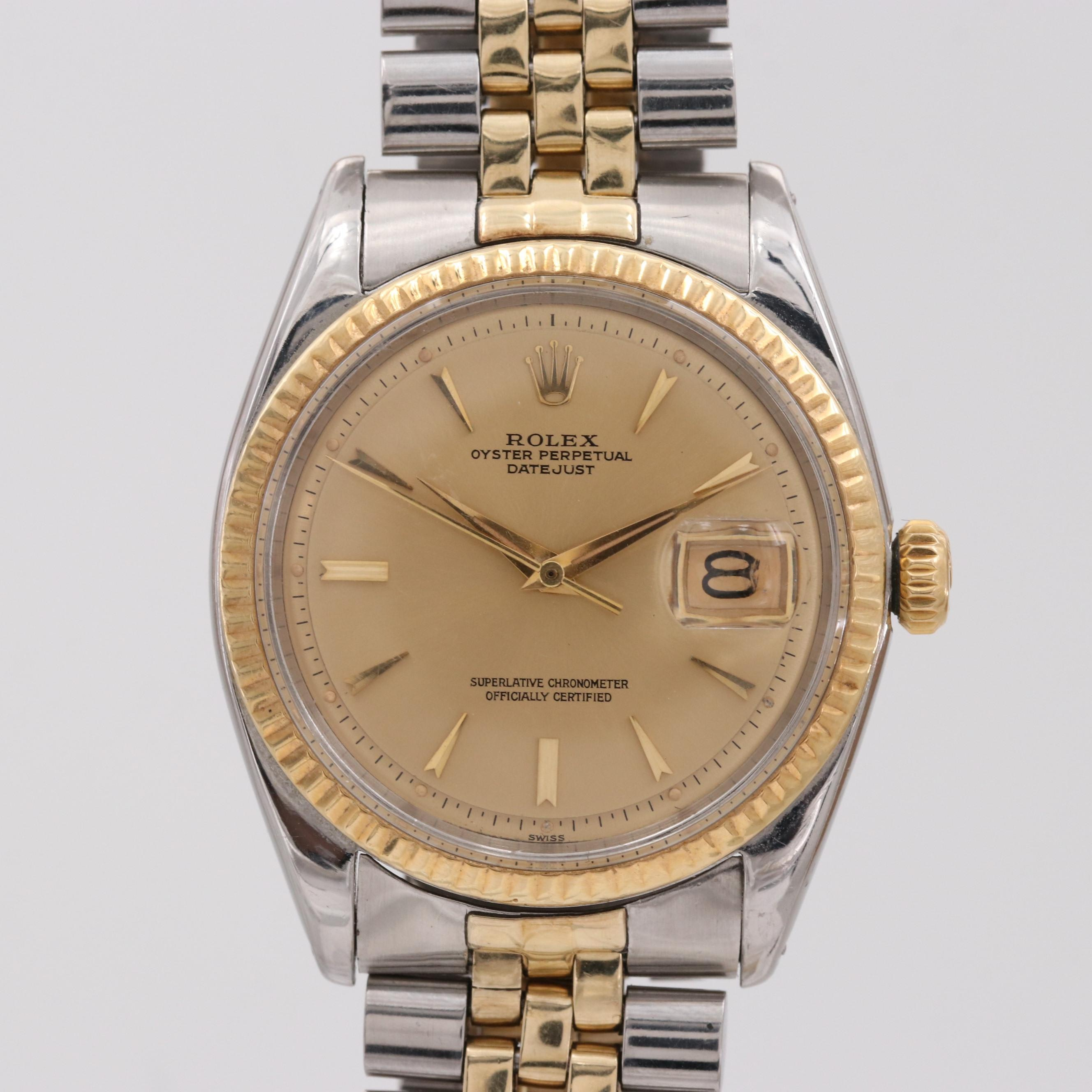 Rolex Datejust Stainless Steel and 14K Yellow Gold Wristwatch, 1961