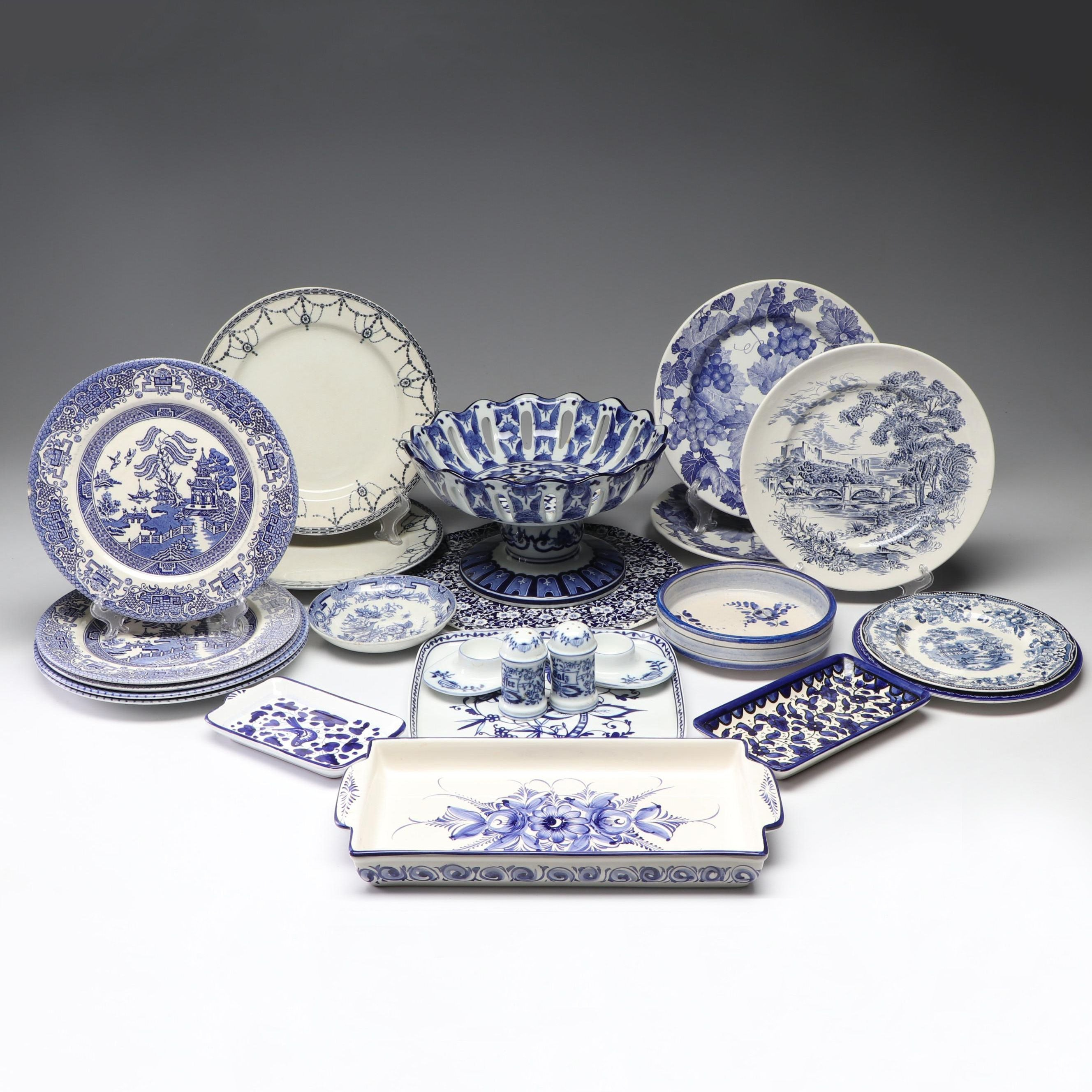Collection of Blue and White European Ceramic Tableware