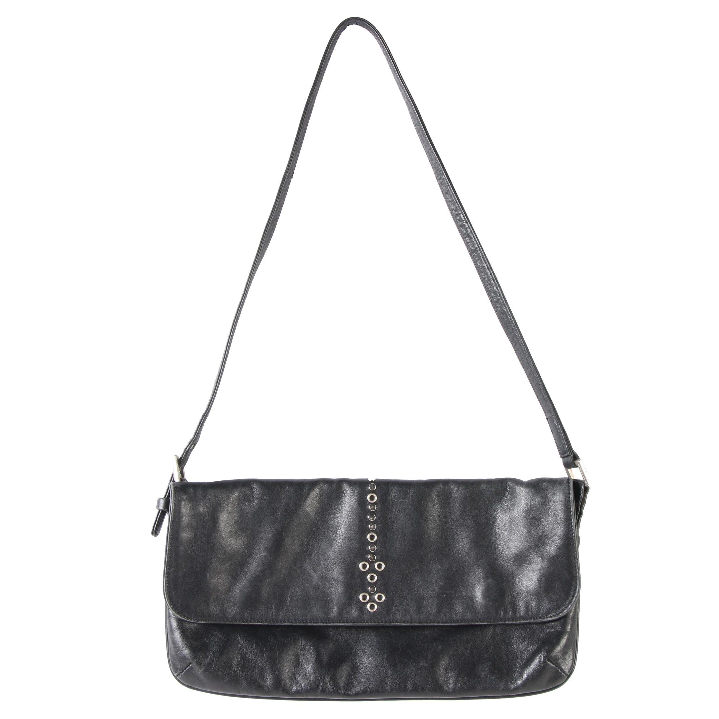 Johnny Farah New York East West Shoulder Bag in Studded Black Leather