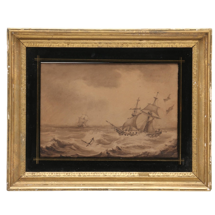 Nautical Grayscale Watercolor Painting of Ships at Sea