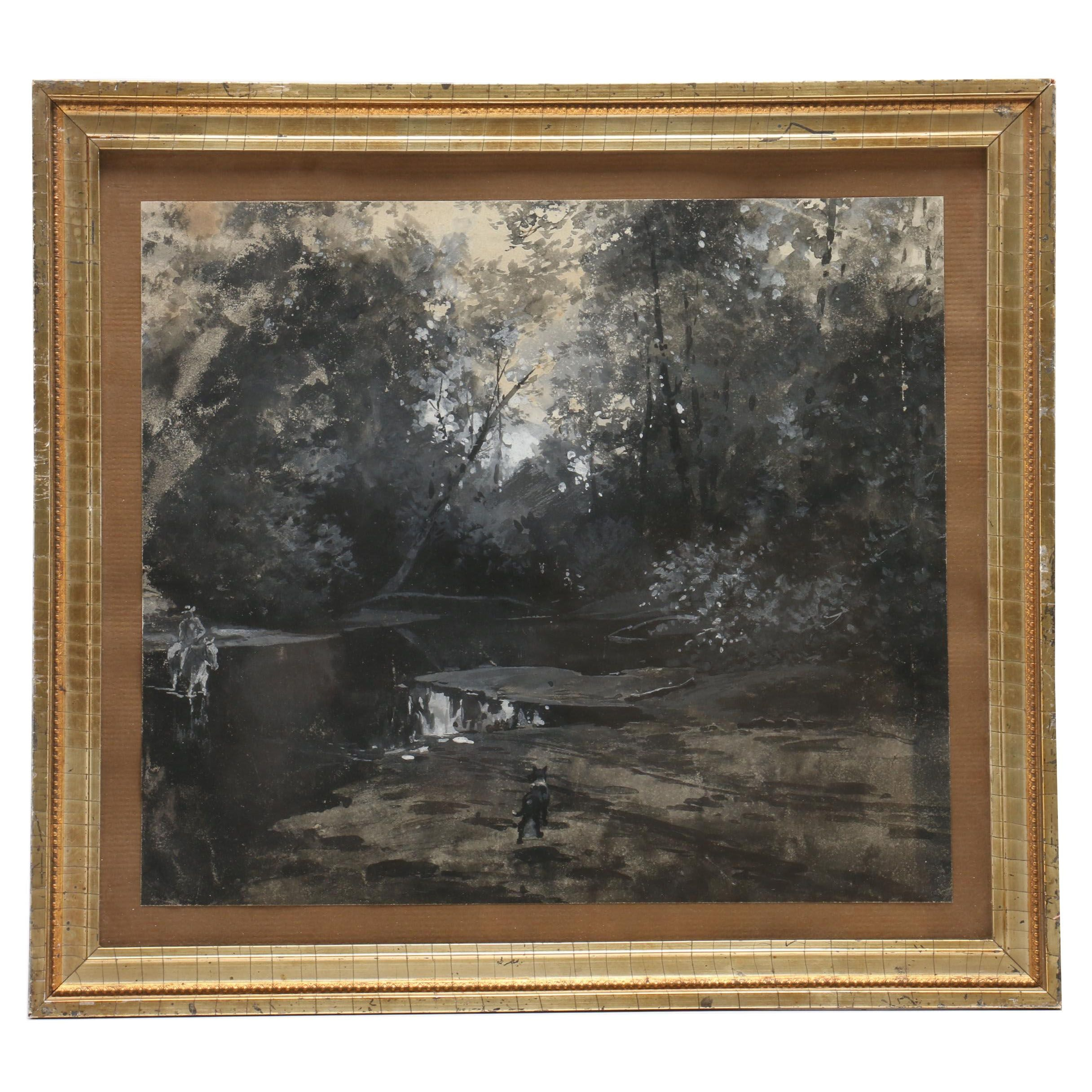 Grayscale Gouache and Watercolor Painting of Man on Horse in Wooded Landscape