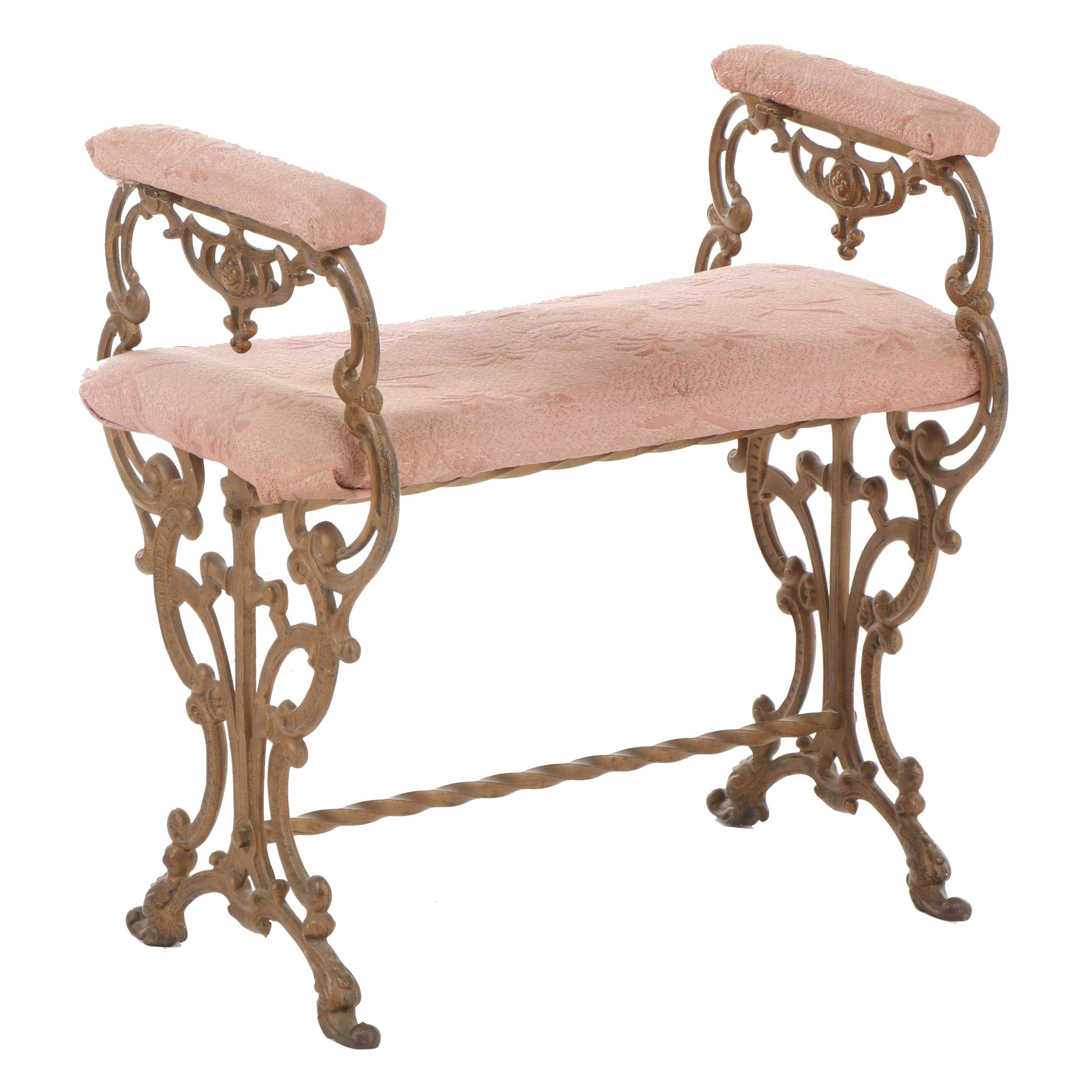 Victorian Style Pink Upholstered Cast Iron Vanity Bench, Early 20th Century