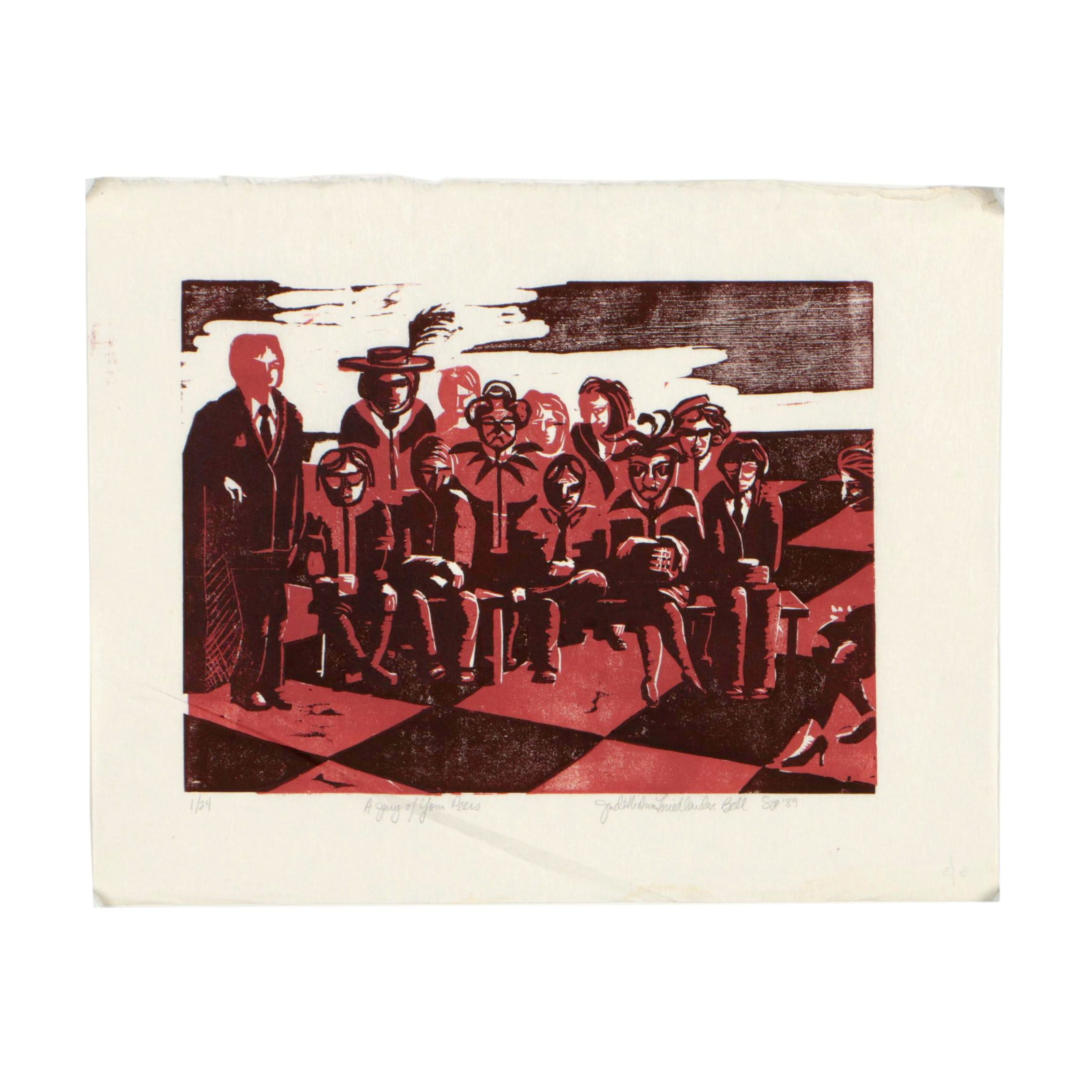 """Judith Ann F. Bell 1989 Woodblock """"A Jury of Your Peers"""""""