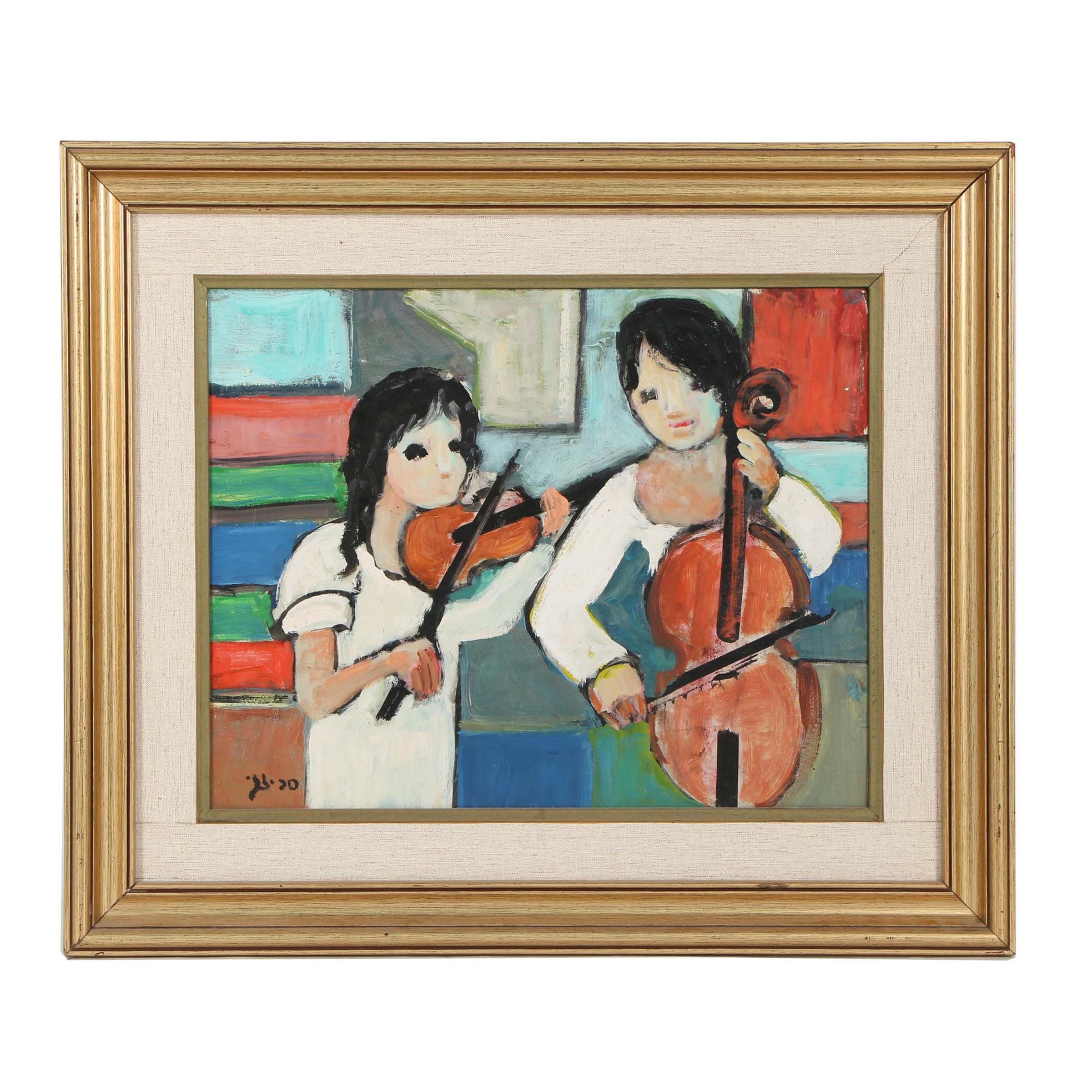 Late 20th Century Oil Painting of Young Musicians