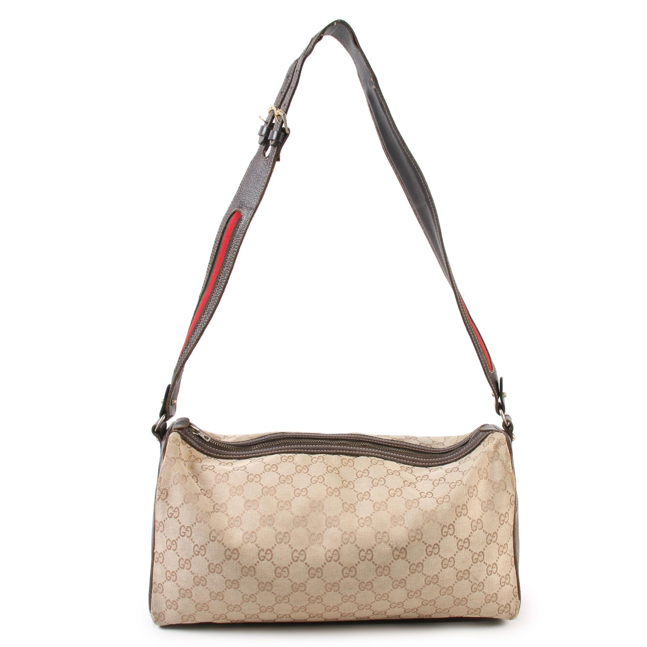 Gucci Travel Bag in GG Canvas and Leather with Web Stripe Trim, Vintage