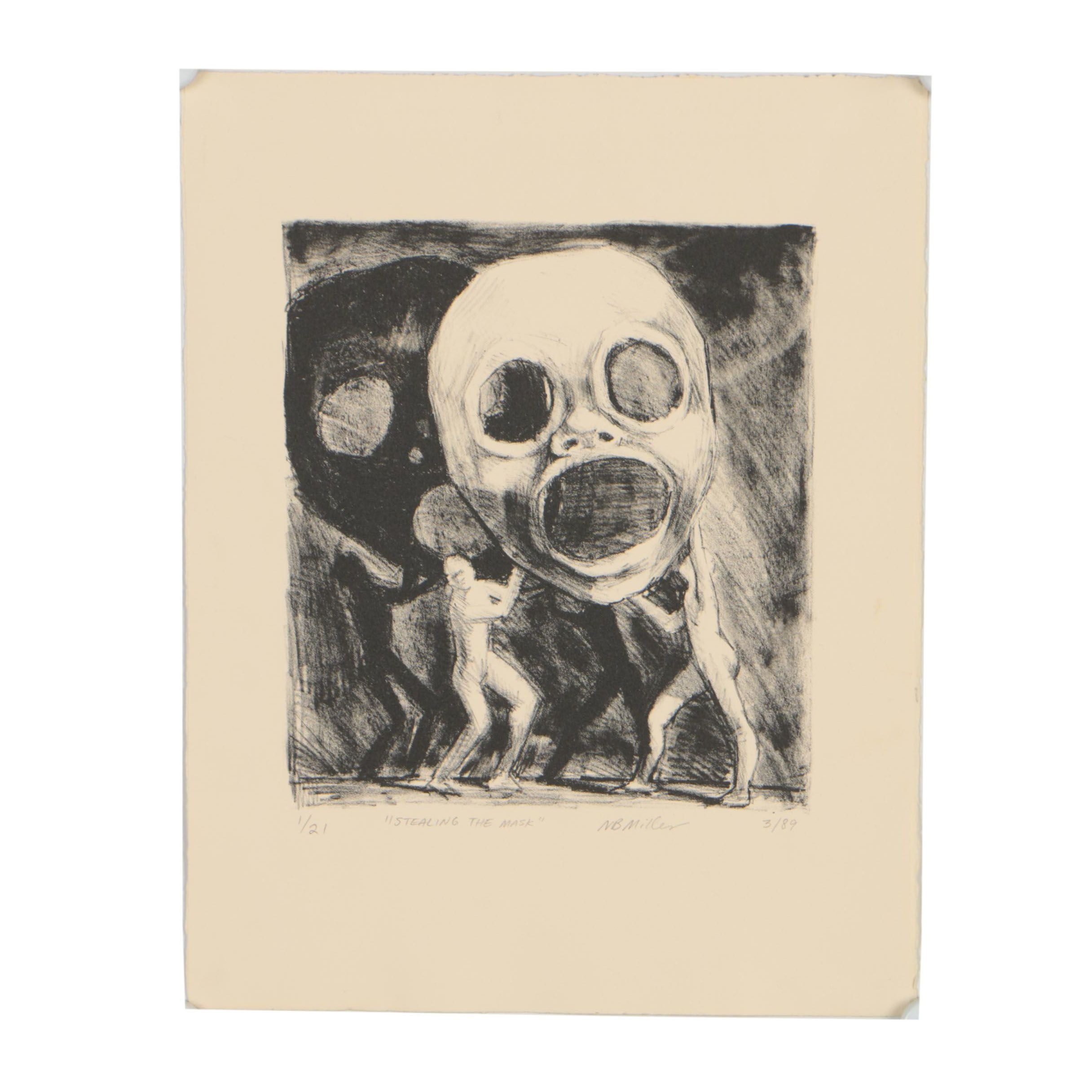 """Nancy Bea Miller 1989 Lithograph """"Stealing the Mask"""""""