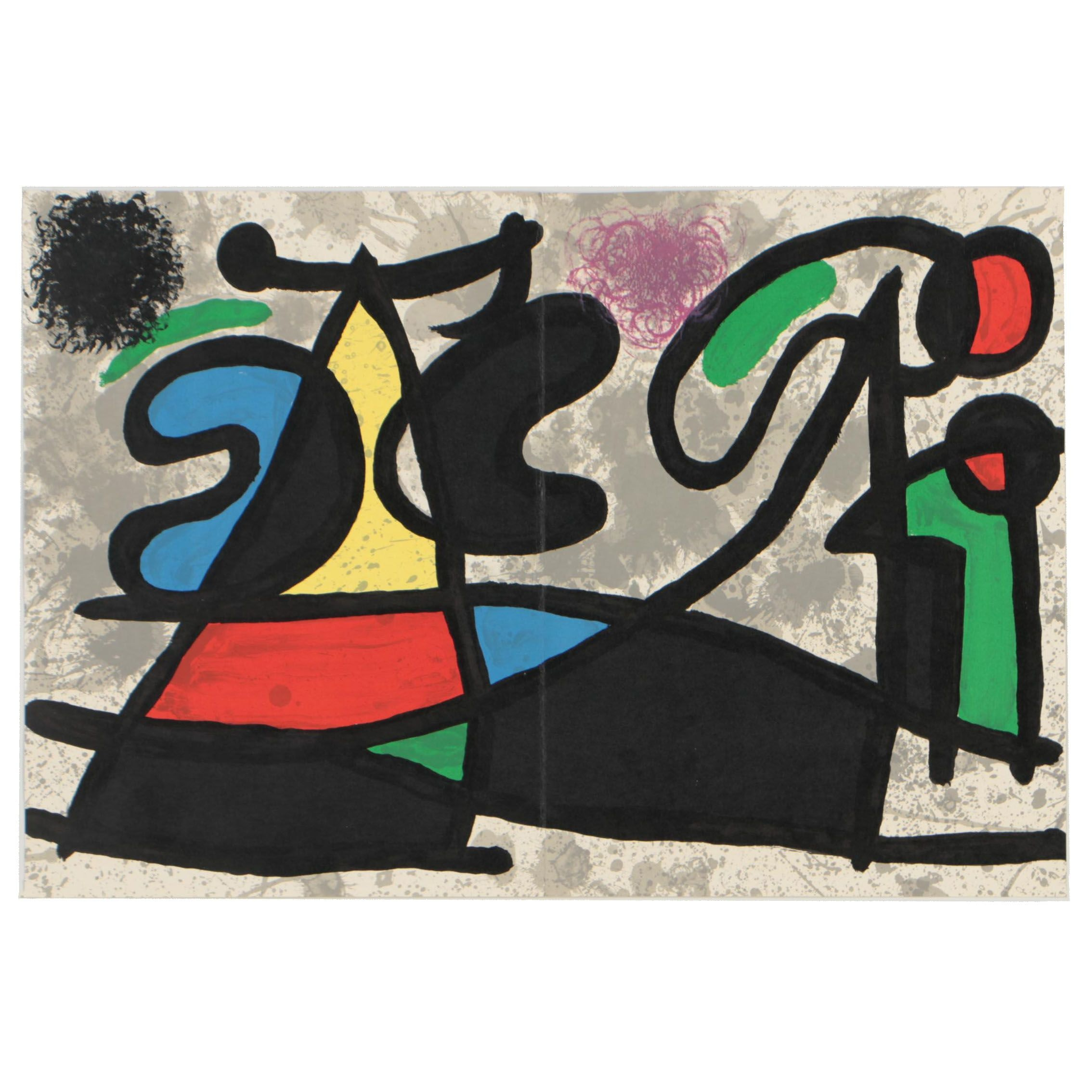 """Joan Miró 1970 Two-Page Lithograph from """"Derriere Le Miroir"""""""