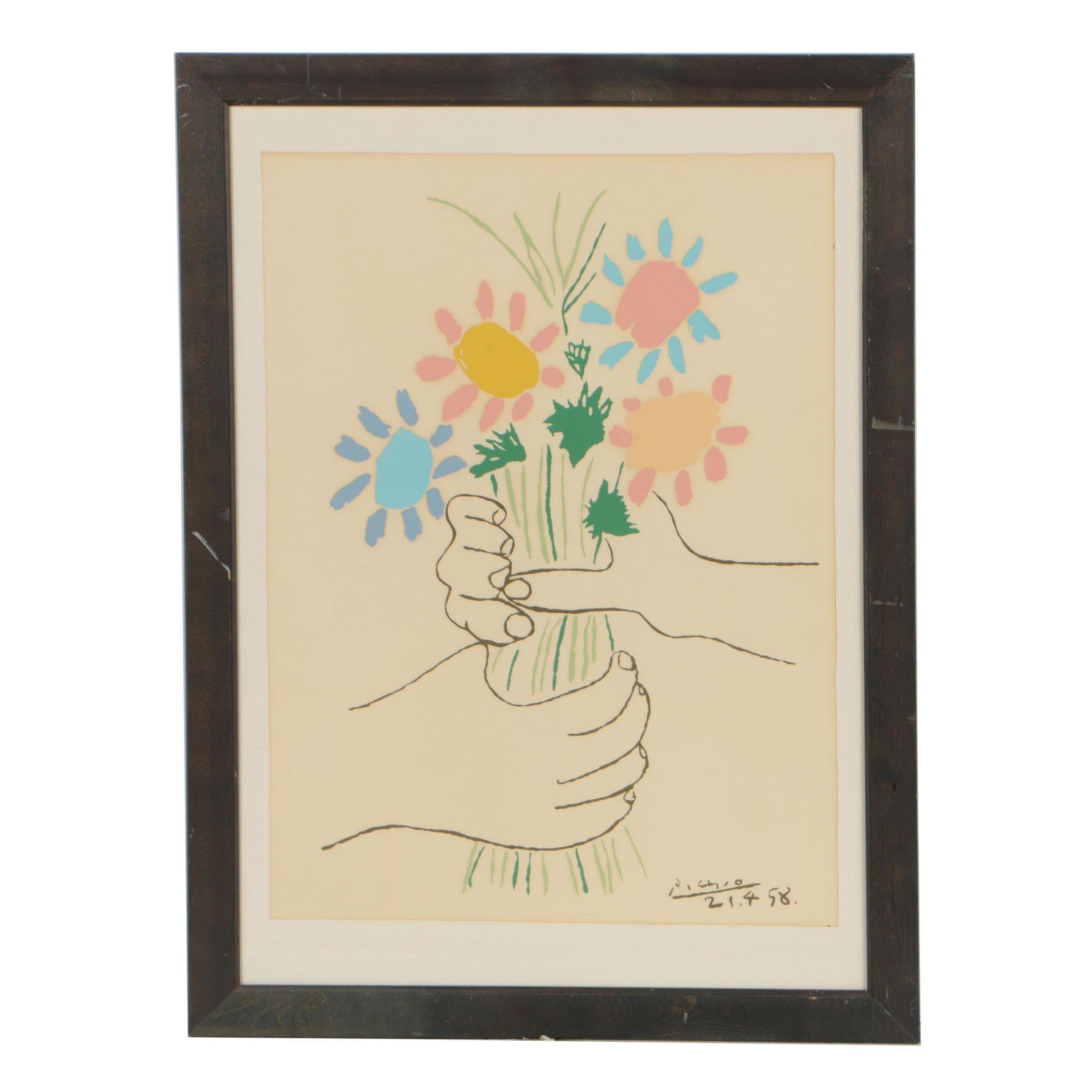 "Lithograph after Pablo Picasso ""Bouquet of Peace"""