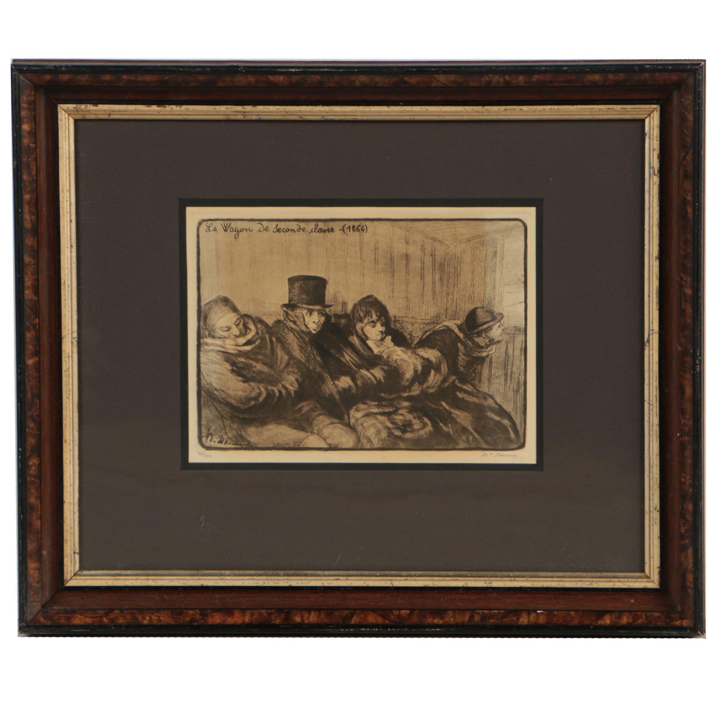 """Lithograph after Honoré Daumier """"Le Wagon de Seconde Classe (1864)"""""""