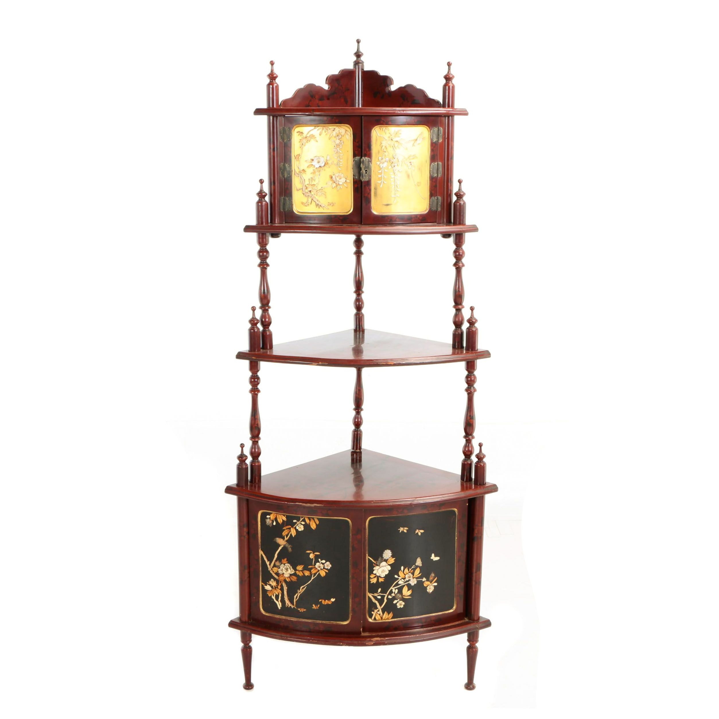 Japanese Red, Black, & Gilt-Lacquer Shibayama Corner Étagère, Early 20th Century