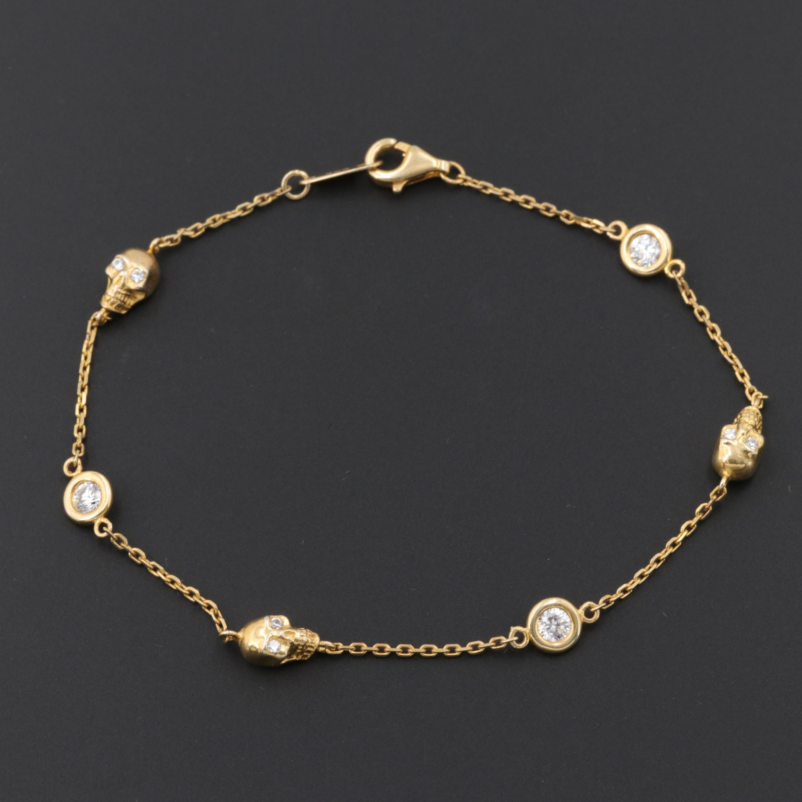 Gold Wash on Sterling Silver Cubic Zirconia Bracelet with Skull Motif