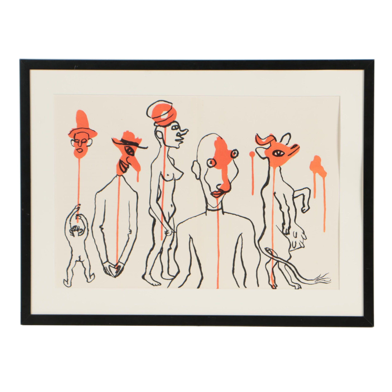 """Alexander Calder 1966 Double-Page Lithograph for """"Derrière le Miroir"""""""